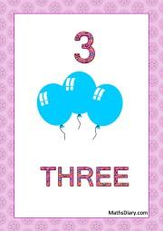 3 blue balloons