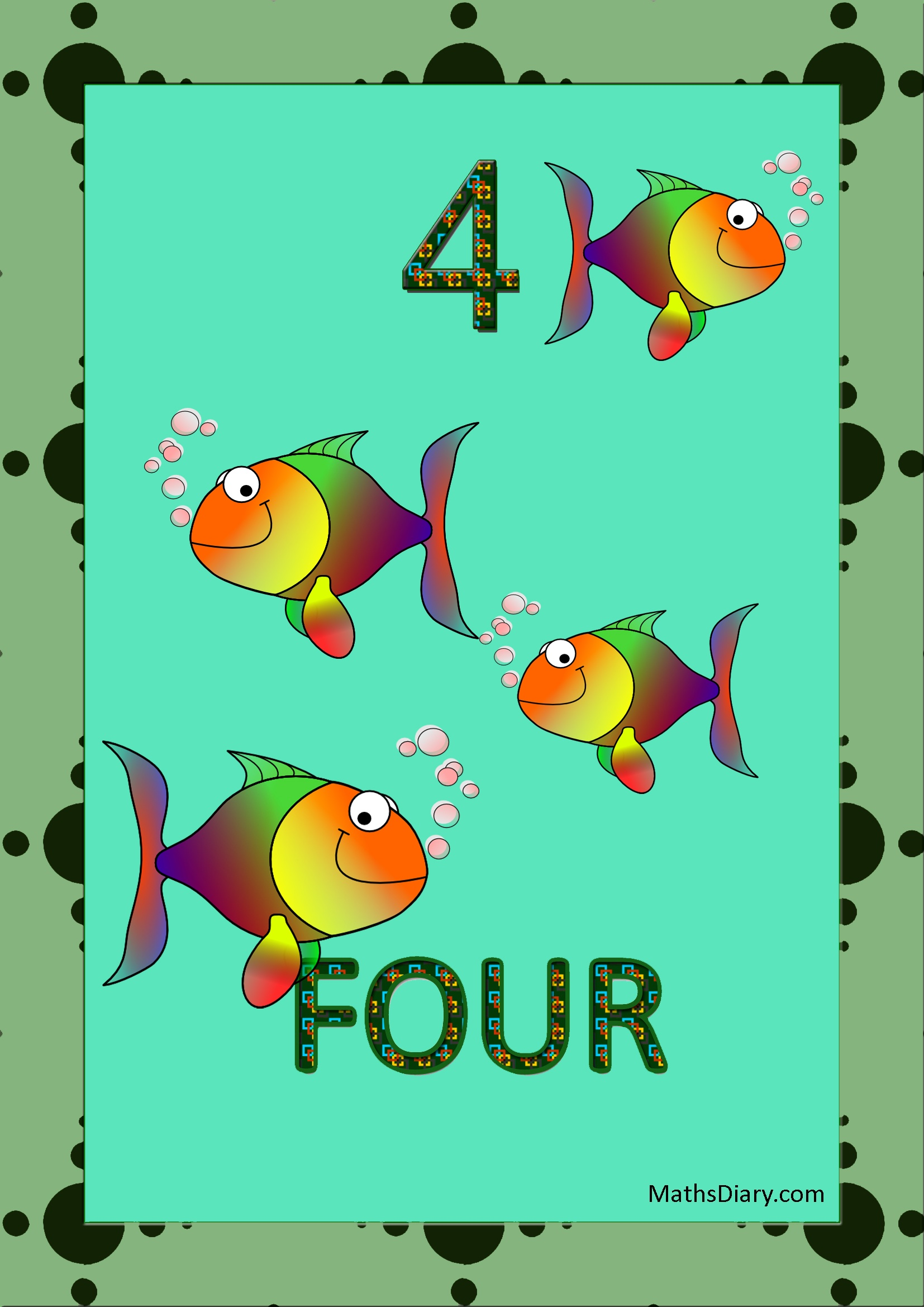 Learning counting and recognition of number 4 – worksheets – Level 1 ...