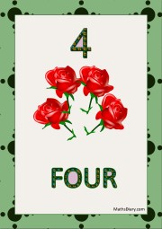 4 red roses