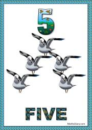 5 flying birds