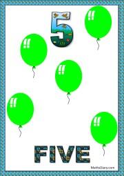 5 green balloons