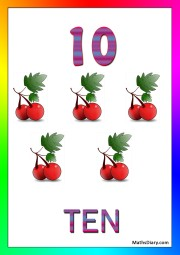 10 cherries with ten leaves