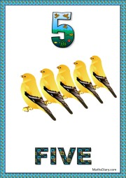 5 yellow sparrows