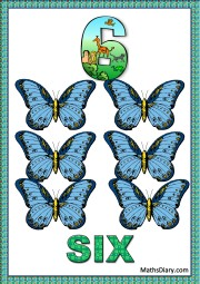 6 blue butterflies