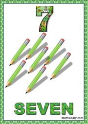 7 green pencils