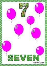 7 pink balloons