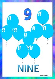 9 blue balloons