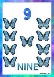 9 blue butterflies