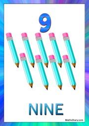 9 blue pencils