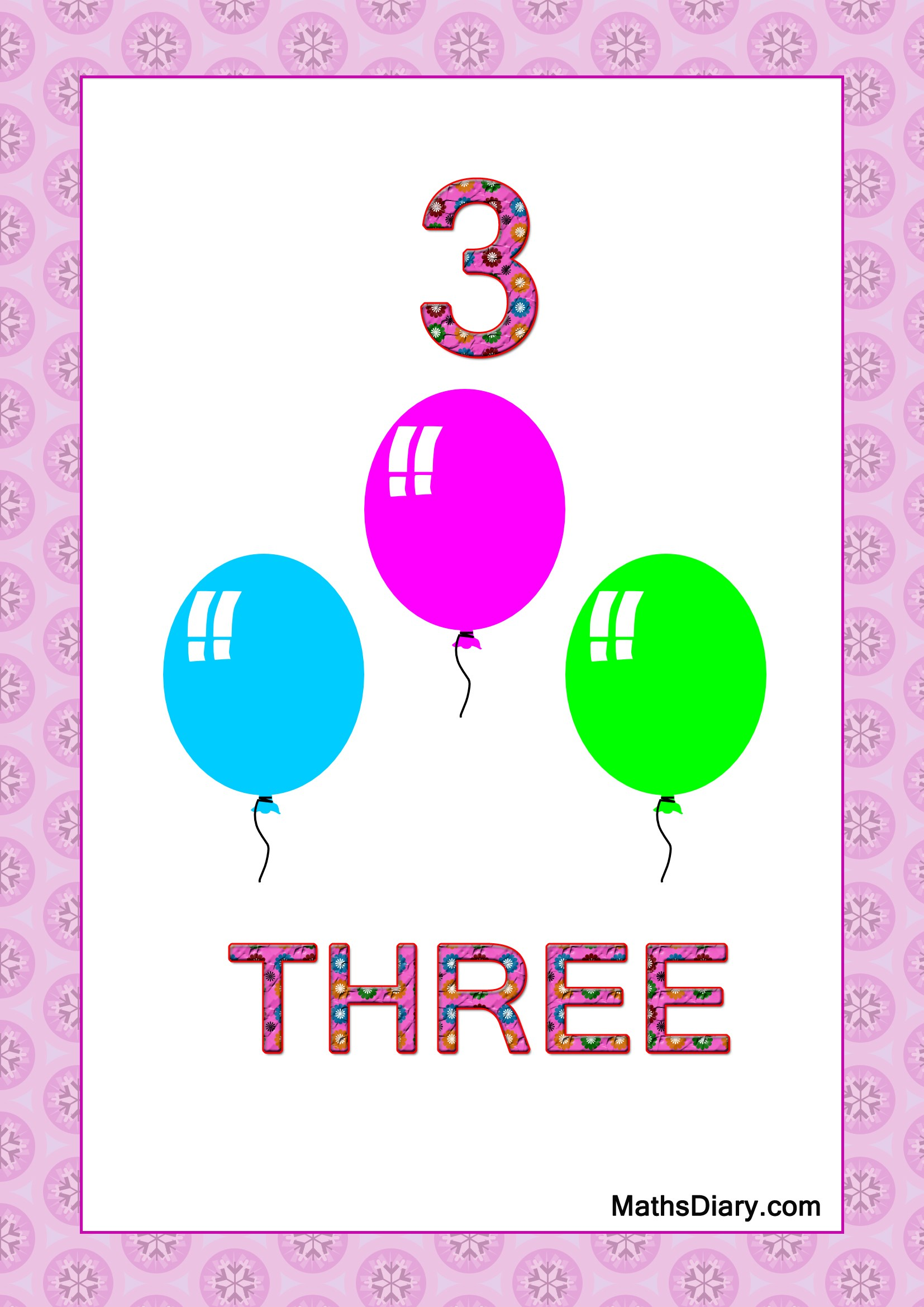 Learning counting and recognition of number 3 Level 2 – Maths Level 2 Worksheets