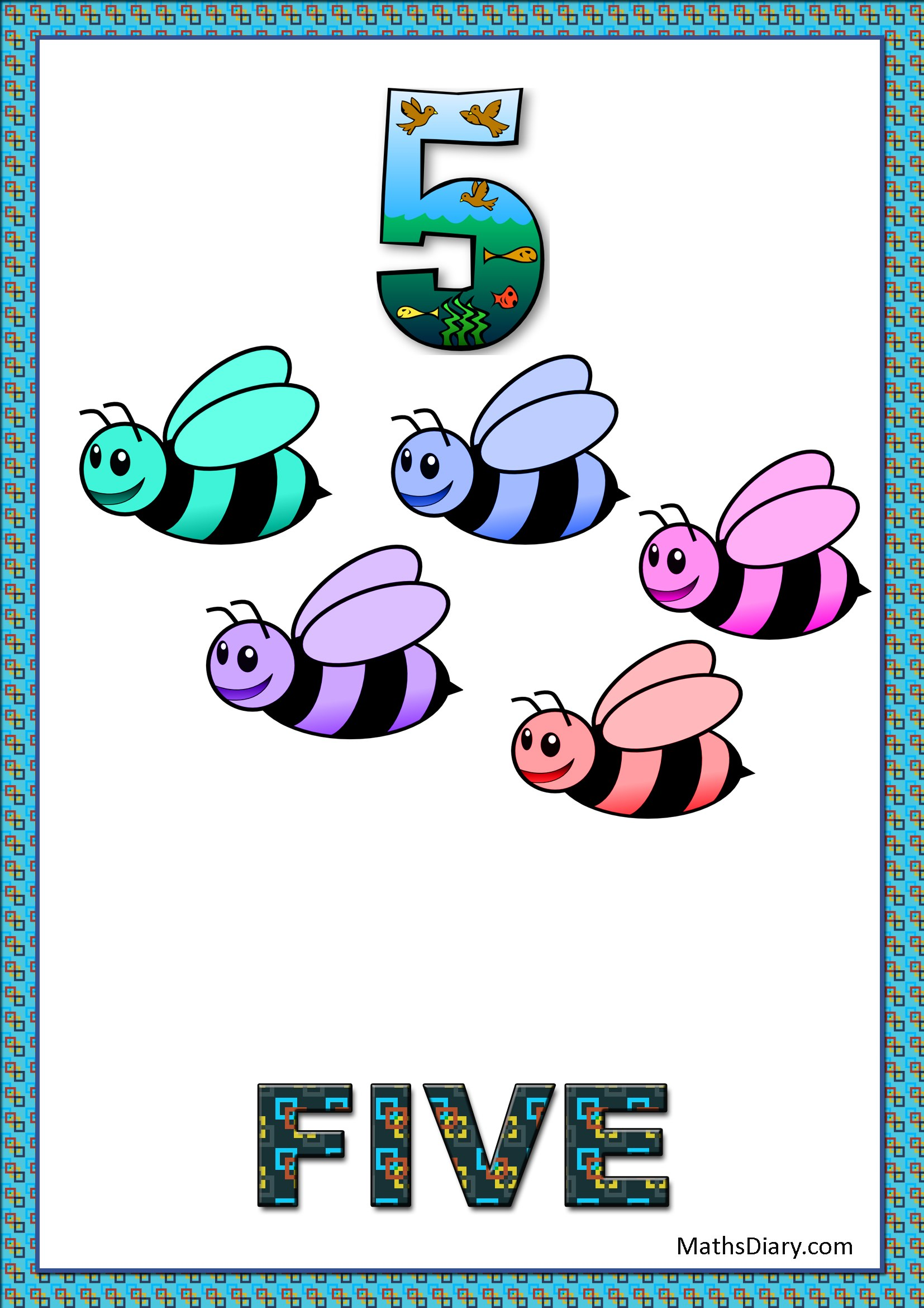 Learning counting and recognition of number 5 – Level 2 – Worksheets ...