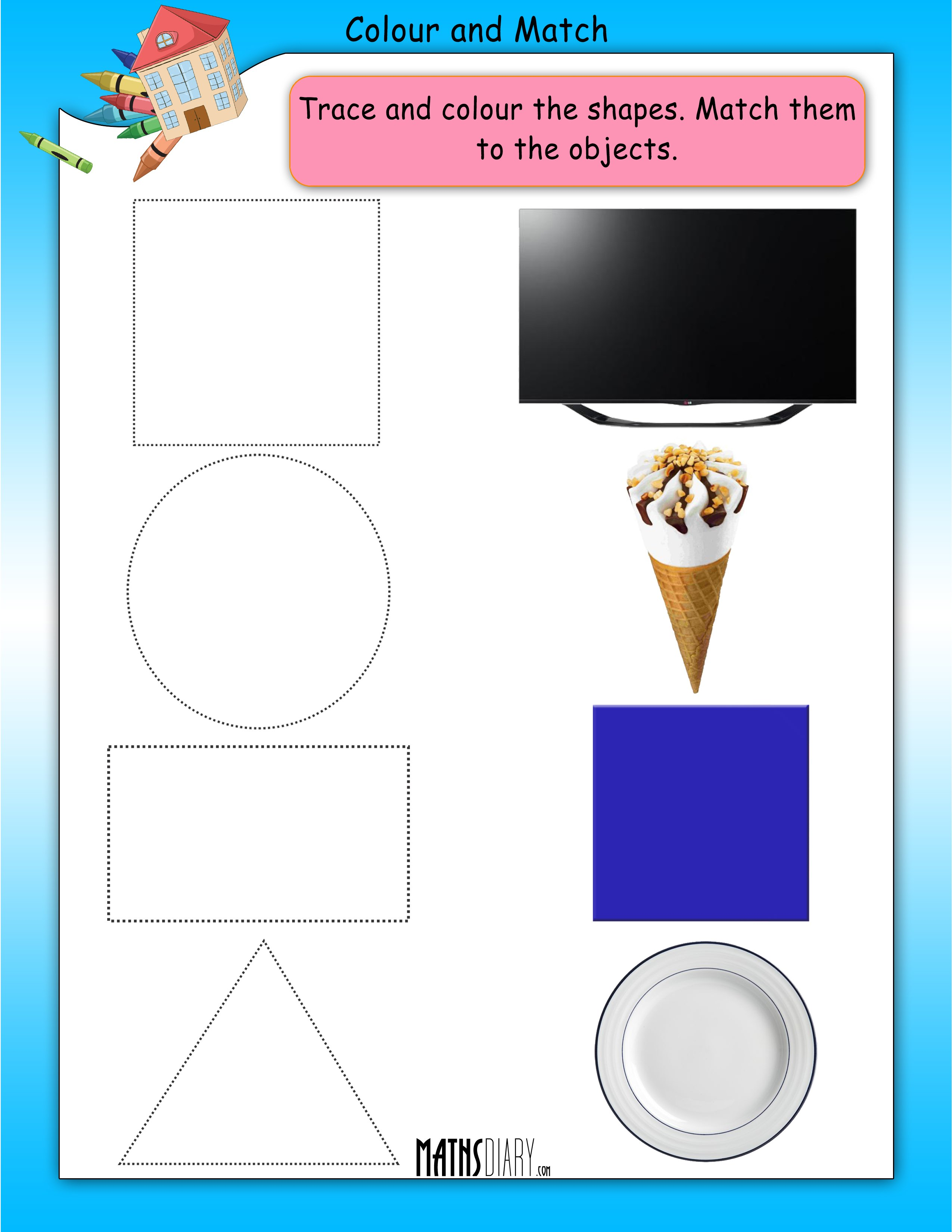 worksheet Matching Shapes To Objects Worksheets lkg math worksheets page 2 colour and match shapes worksheet 3