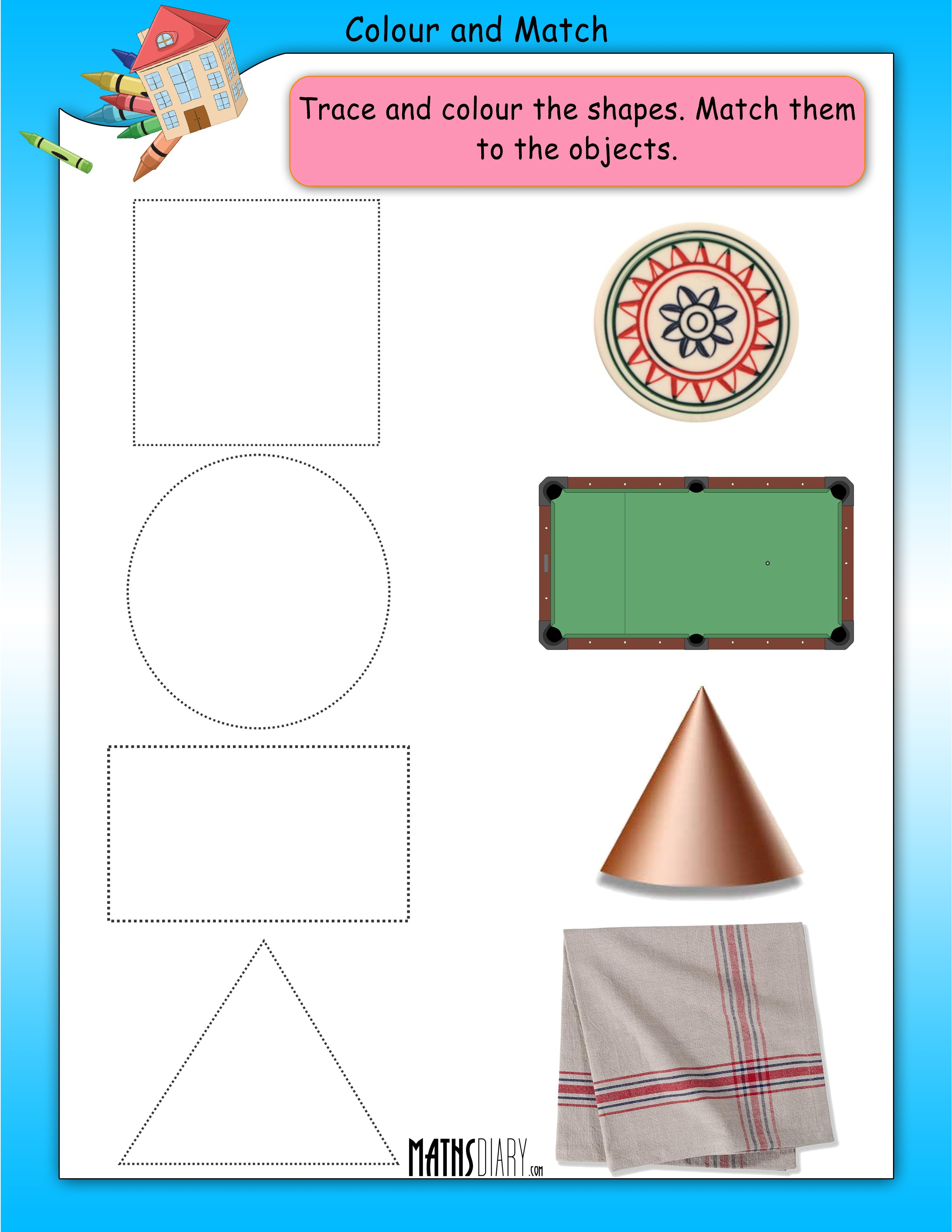 worksheet Matching Shapes To Objects Worksheets nursery math worksheets colour and match shapes worksheet 5