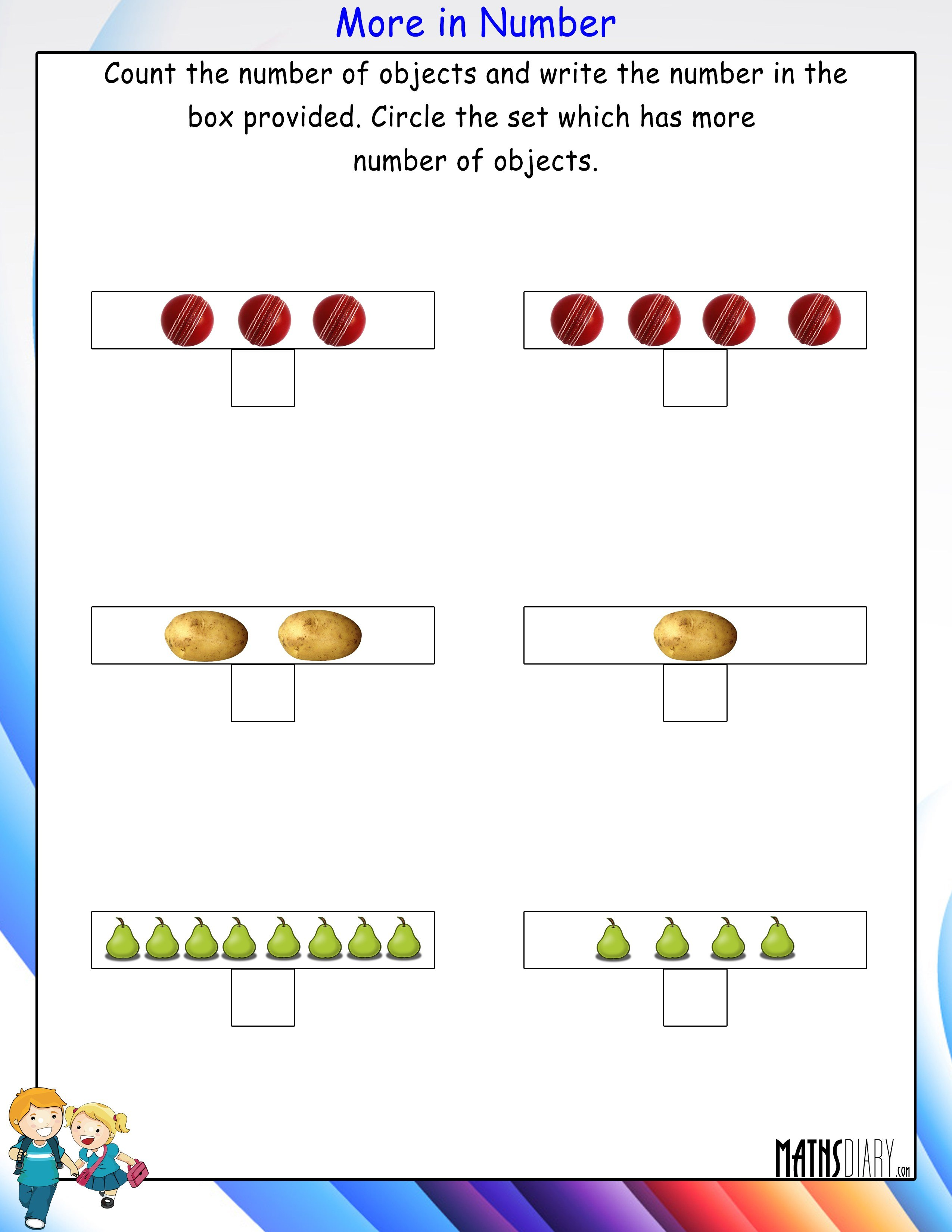 Comparing Nursery Math Worksheets Page 2