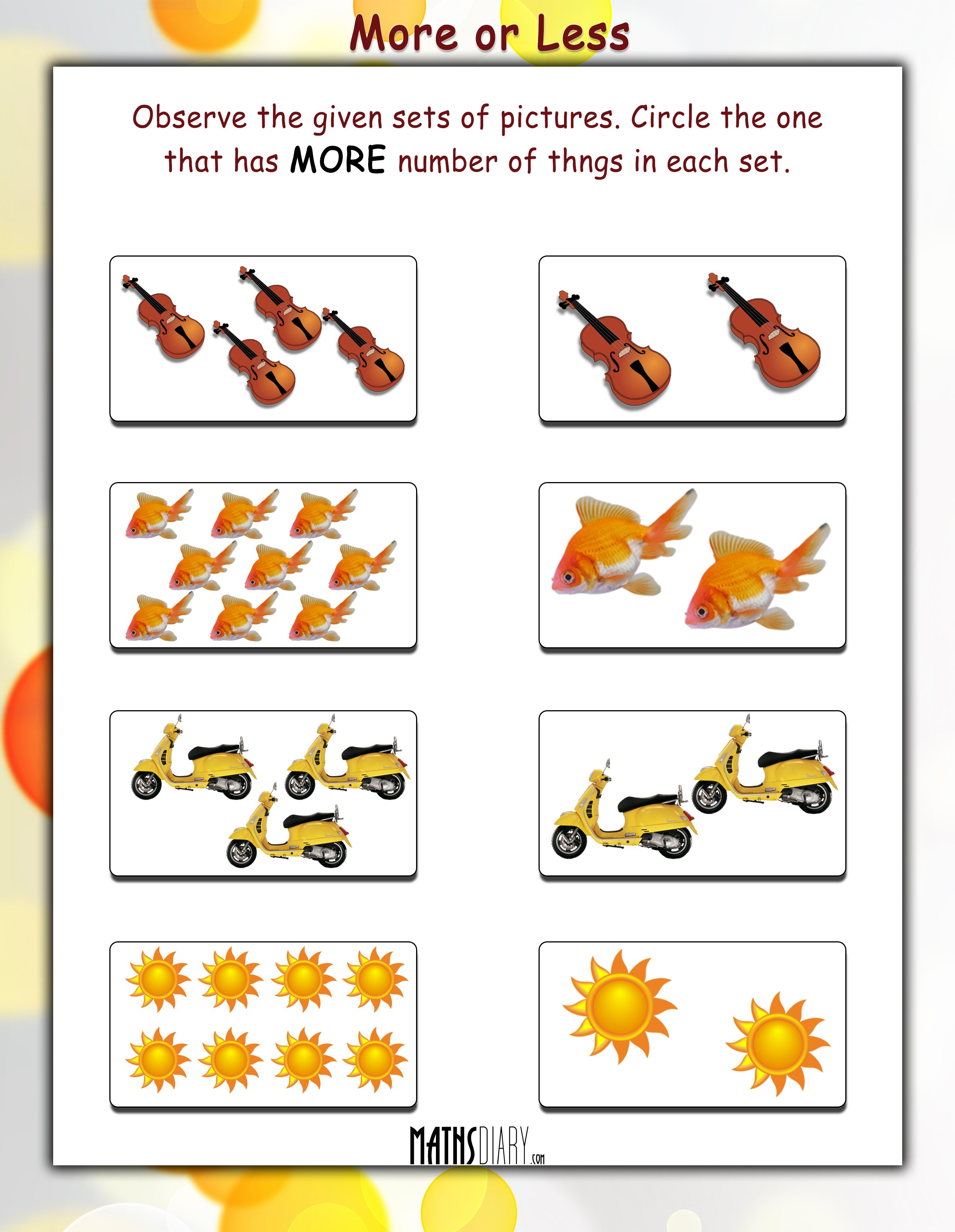 Practical Maths - LKG Math Worksheets - Page 3