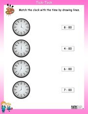 Match-the-clock-with-time-worksheet-1
