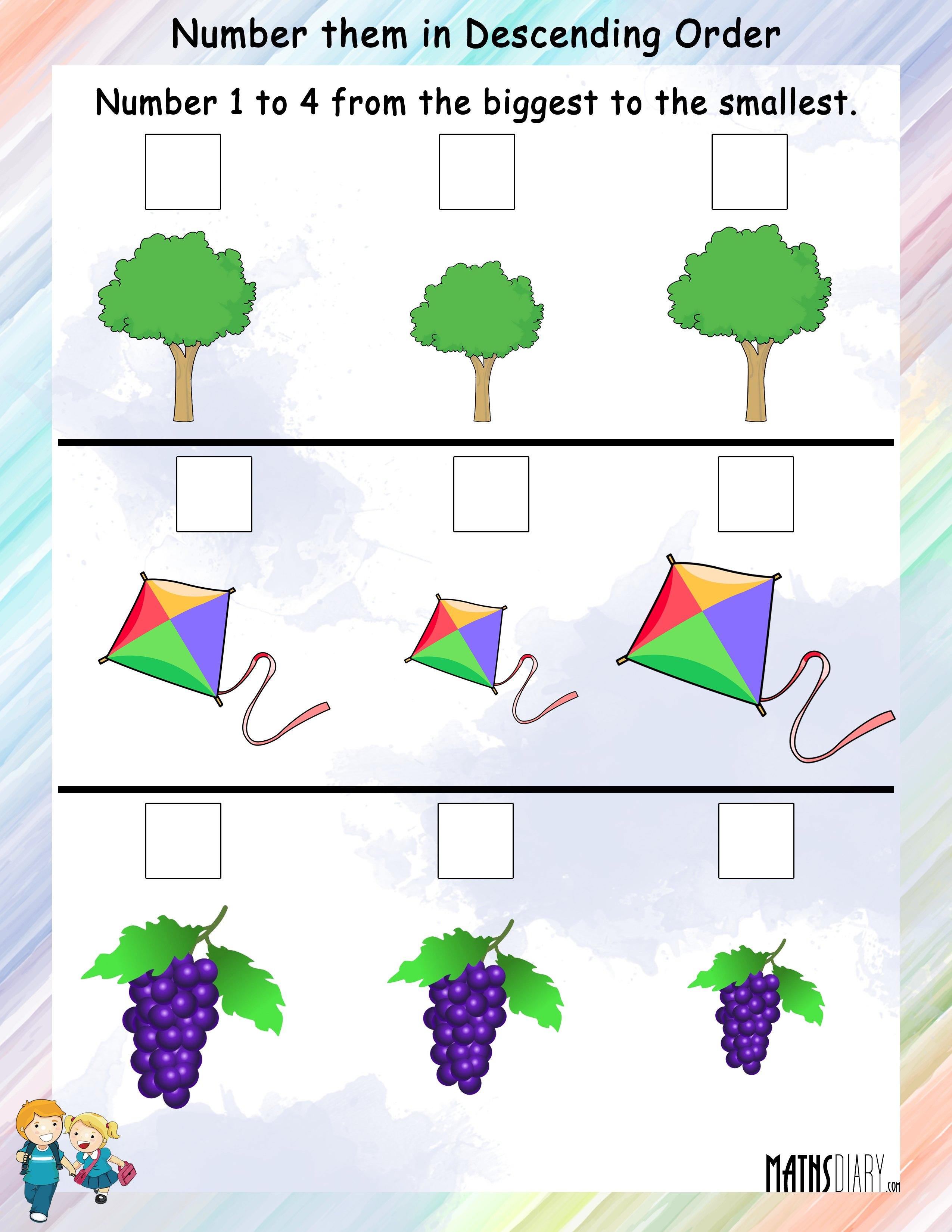 Ascending Descending Order   Grade 1 Math Worksheets
