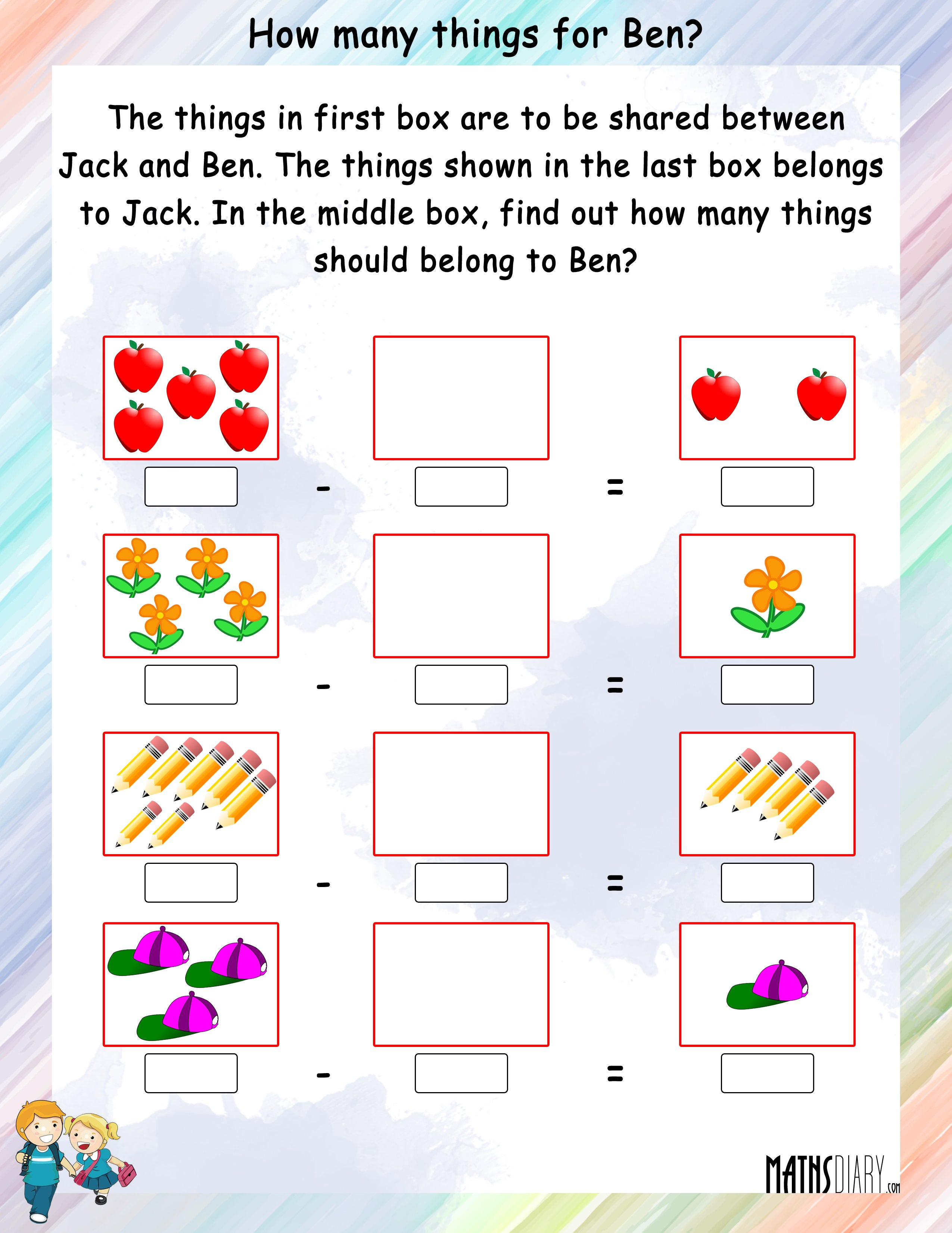 Write Addition or Subtraction fact for each number ...