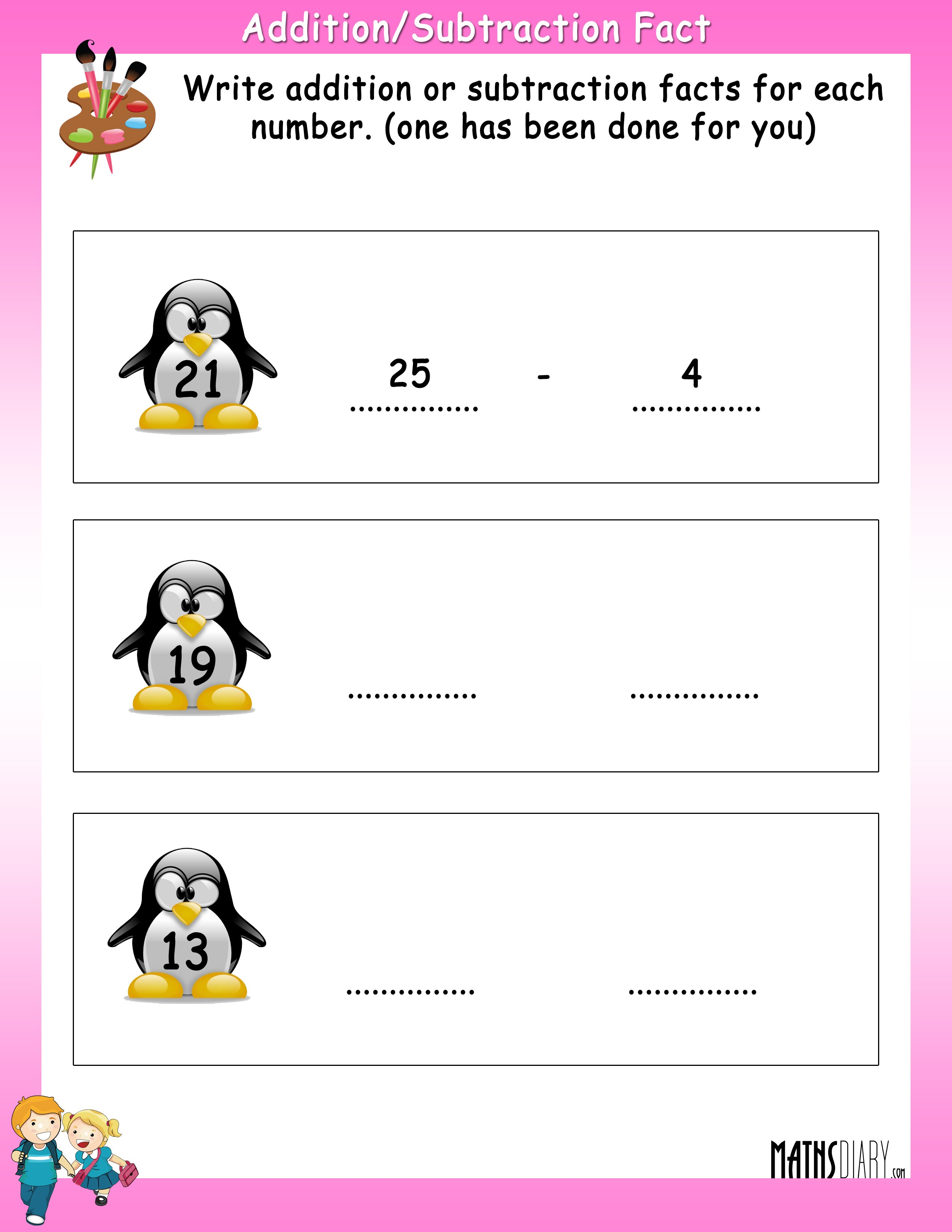 Write Addition or Subtraction fact for each number MathsDiary – Addition Facts to 5 Worksheet