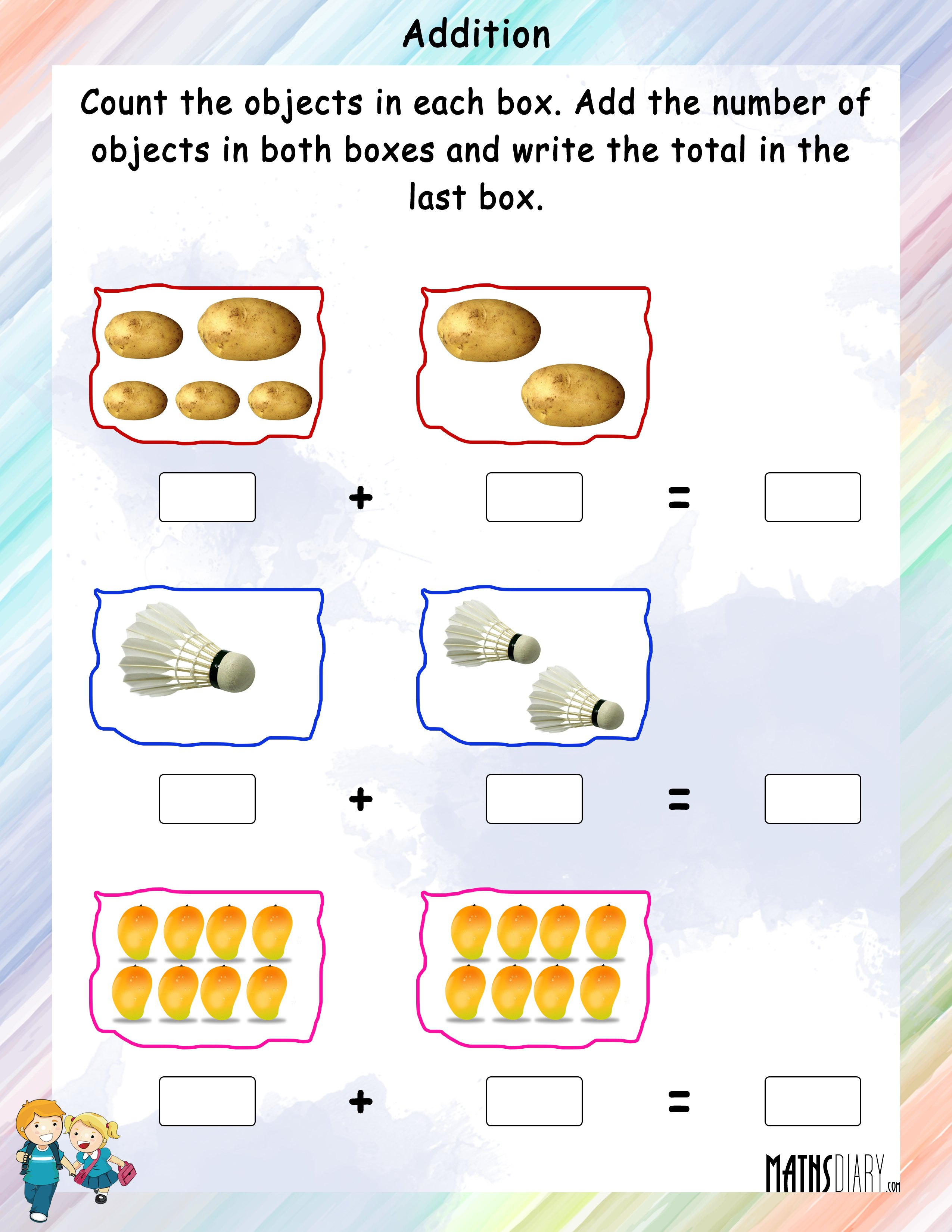 Addition Math Worksheets For Kindergarten Using Objects