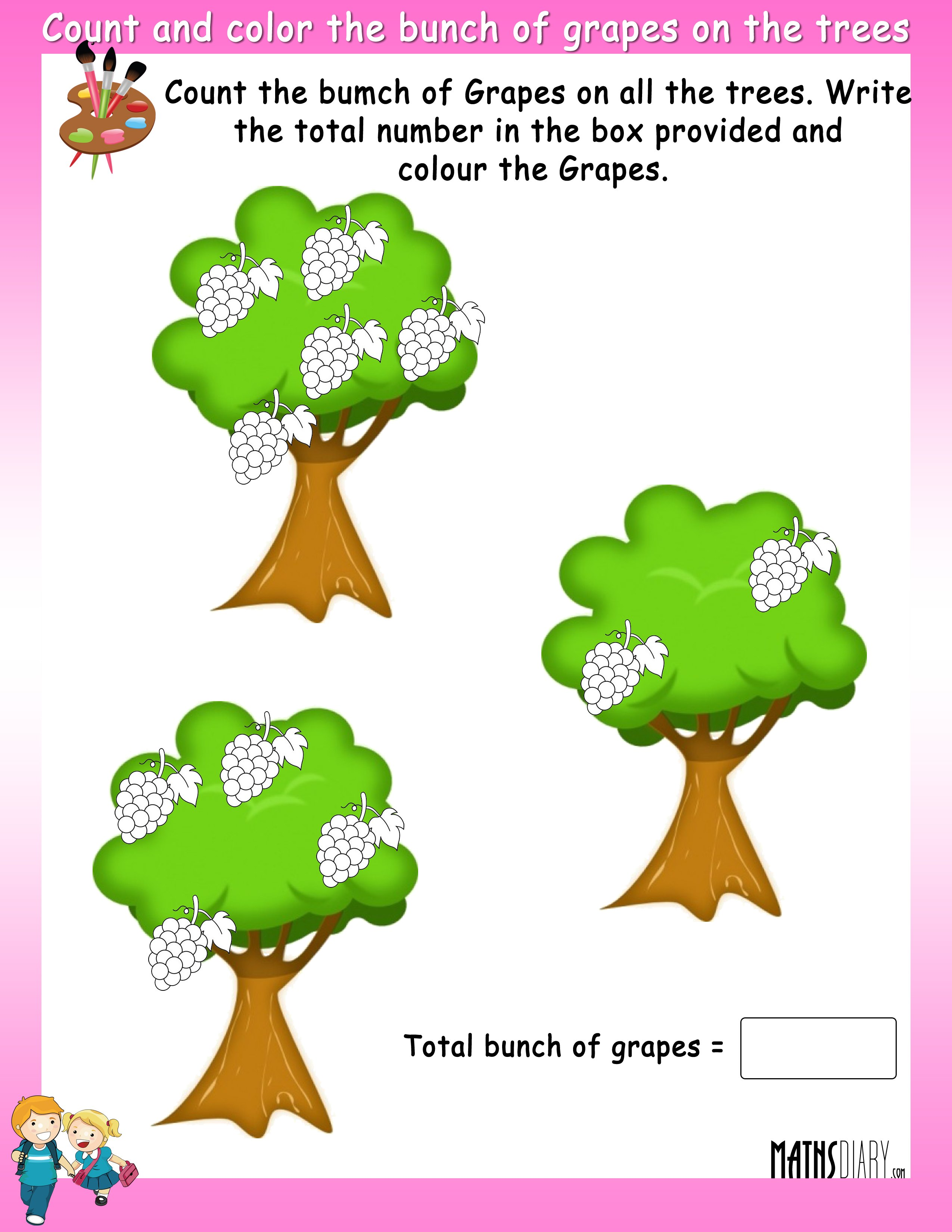 Count and color the fruits on trees - MathsDiary.com