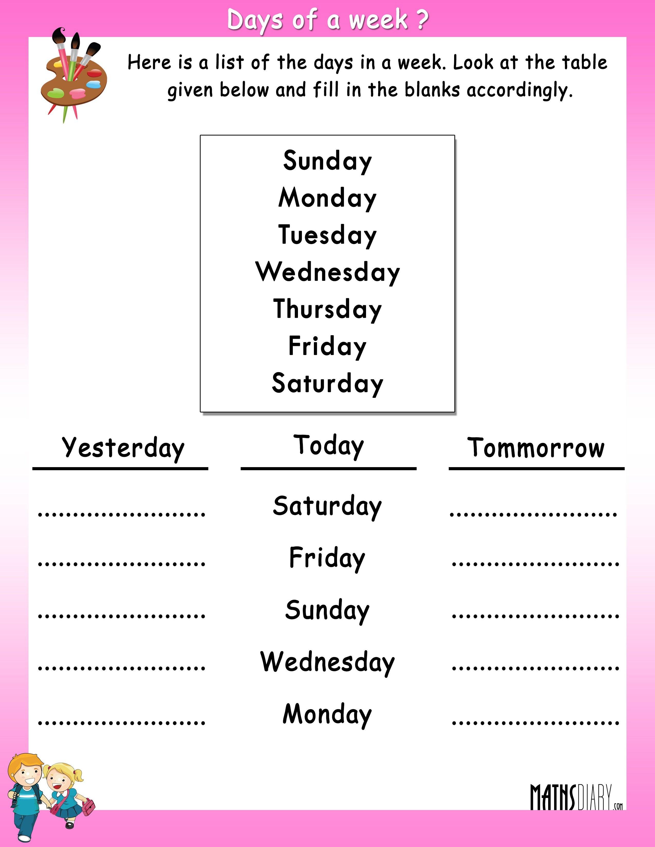 Time - UKG Math Worksheets