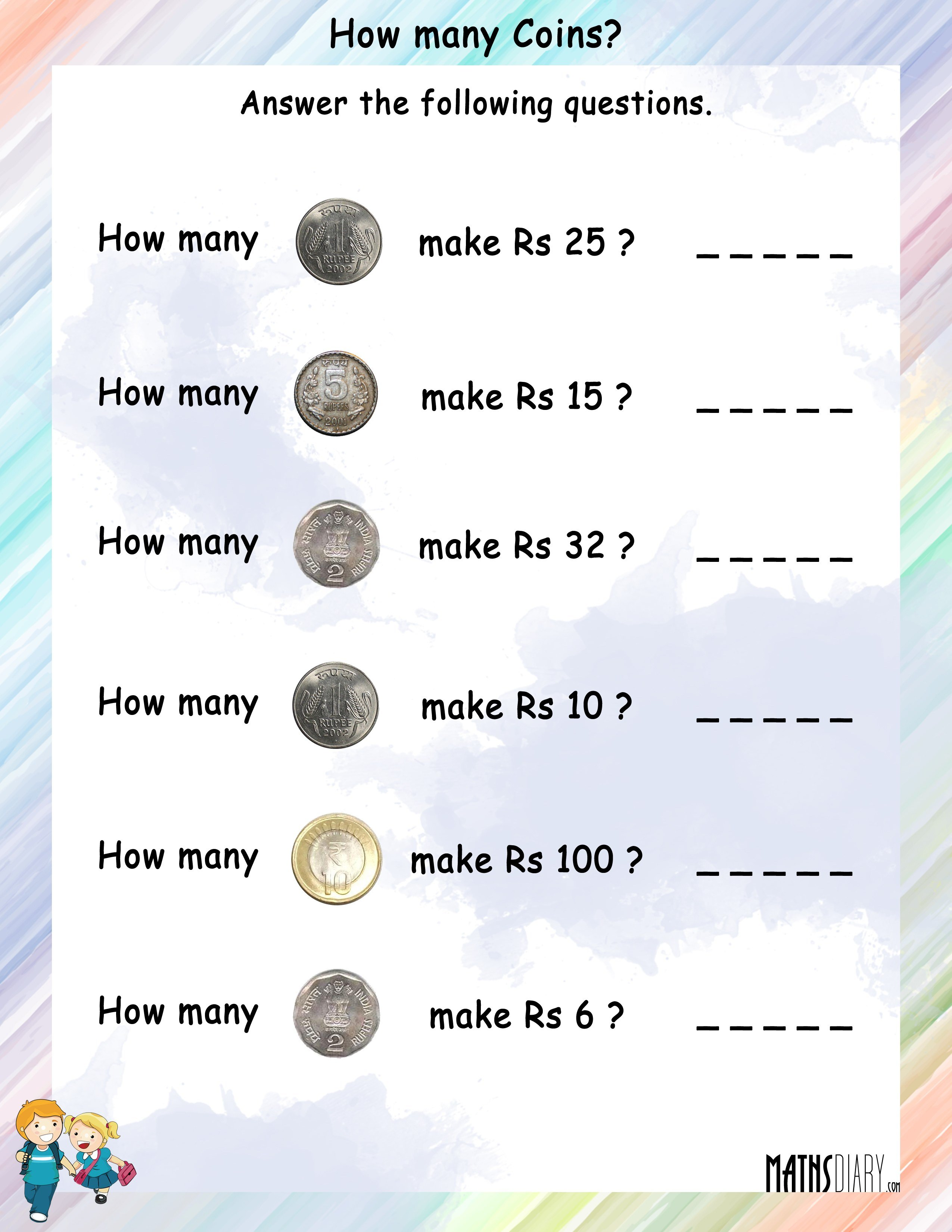 How many coins will be needed to make the given rupees – How to Make a Worksheet