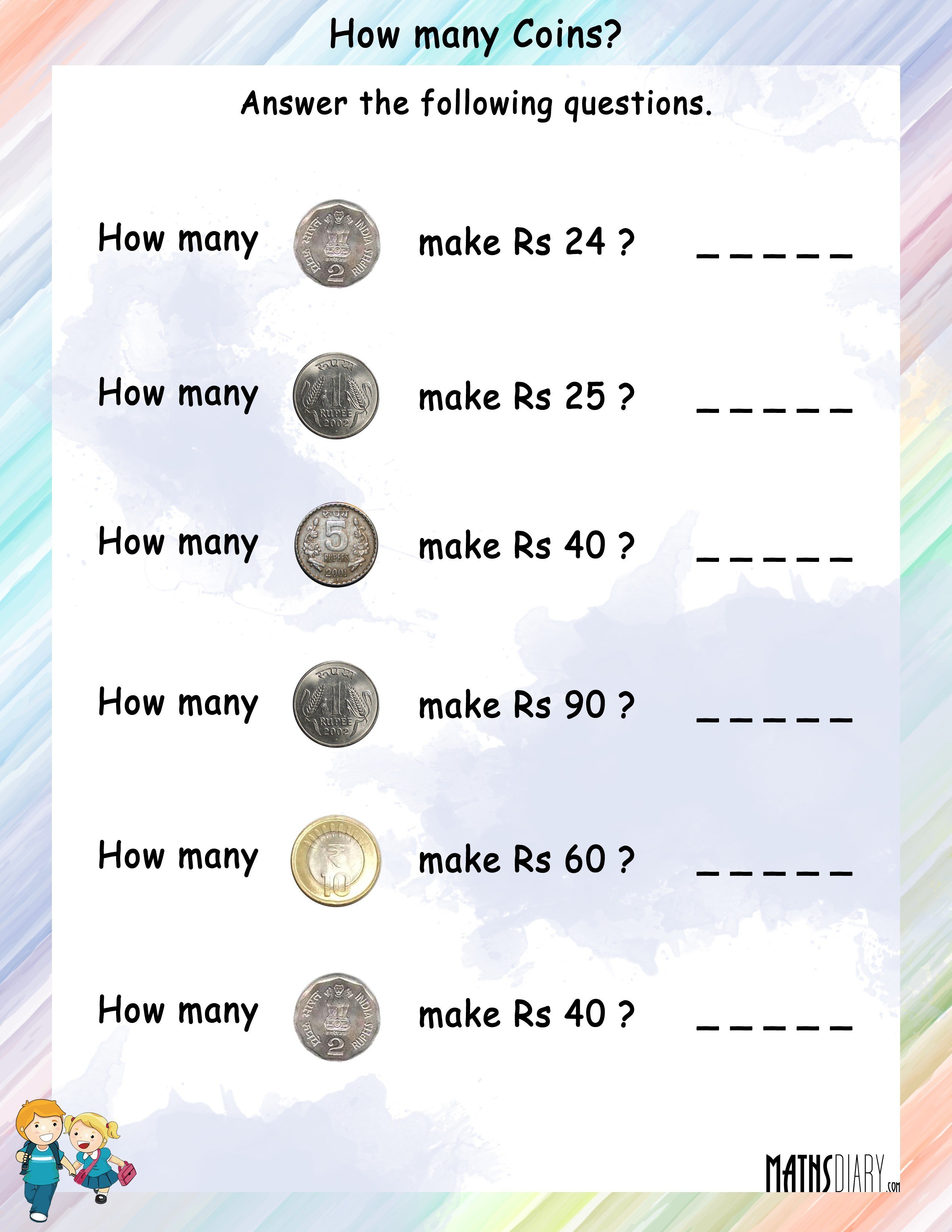 Currency – Grade 2 Math Worksheets