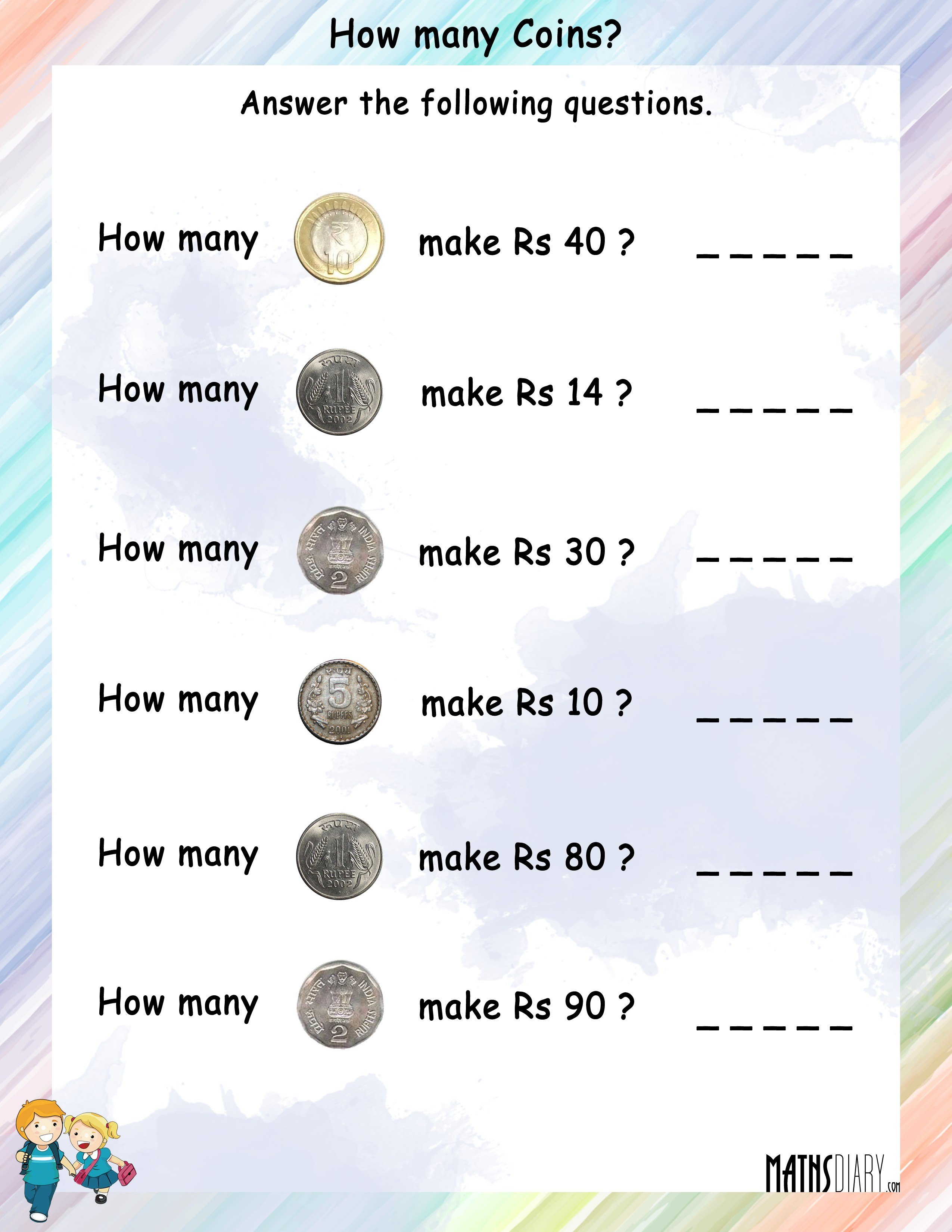 How many coins will be needed to make the given rupees – Worksheets