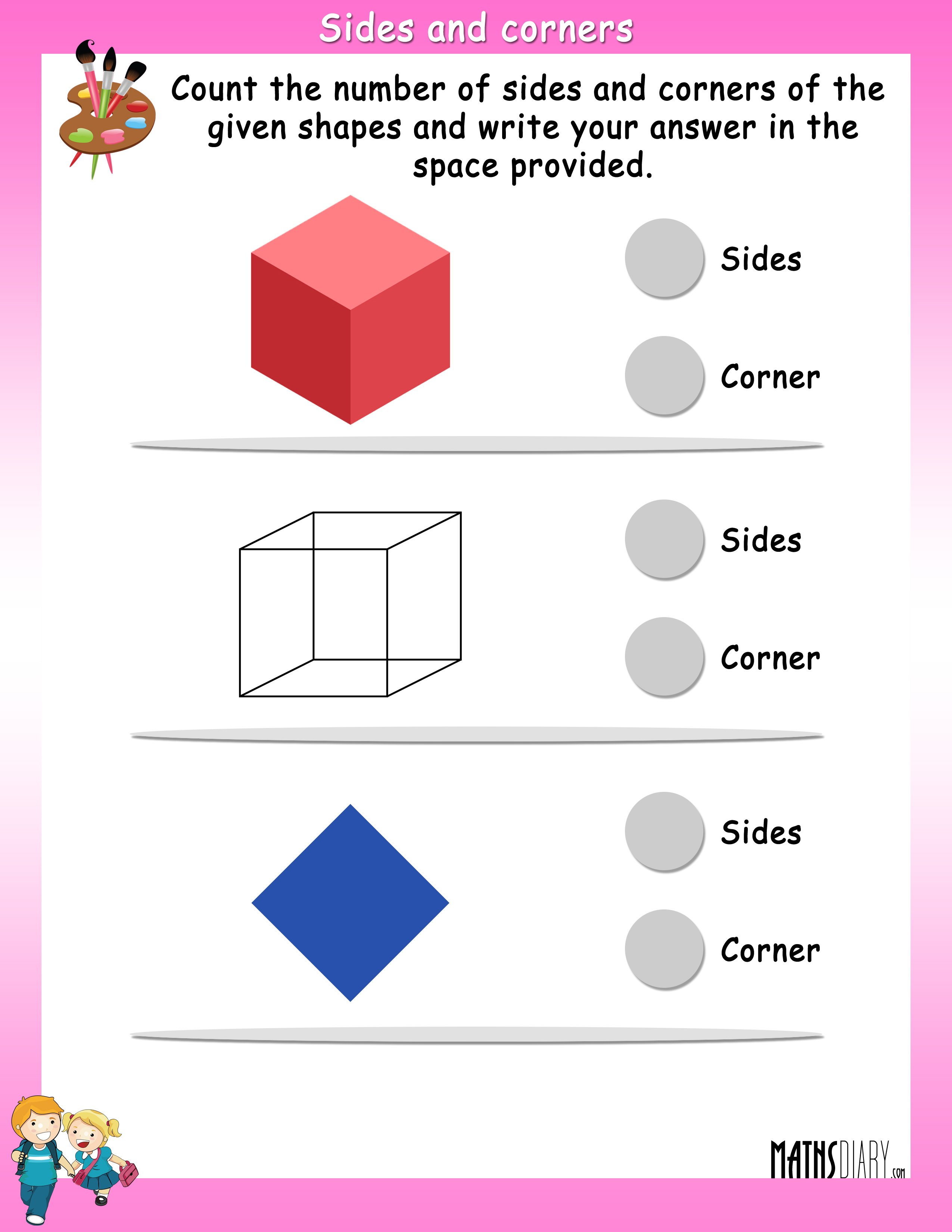Count the Sides and Corners of given shapes