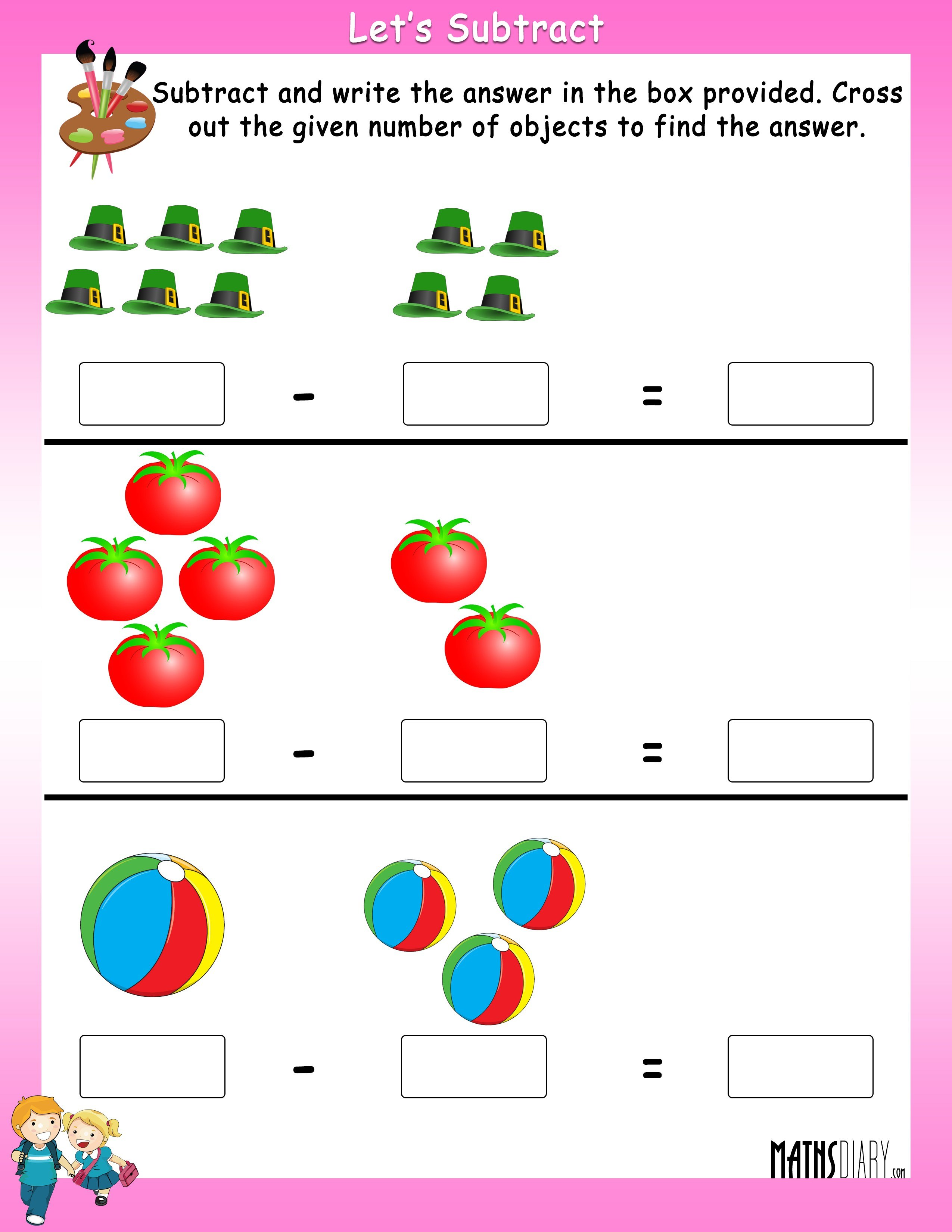 Subtract by crossing the objects worksheets - Math ...