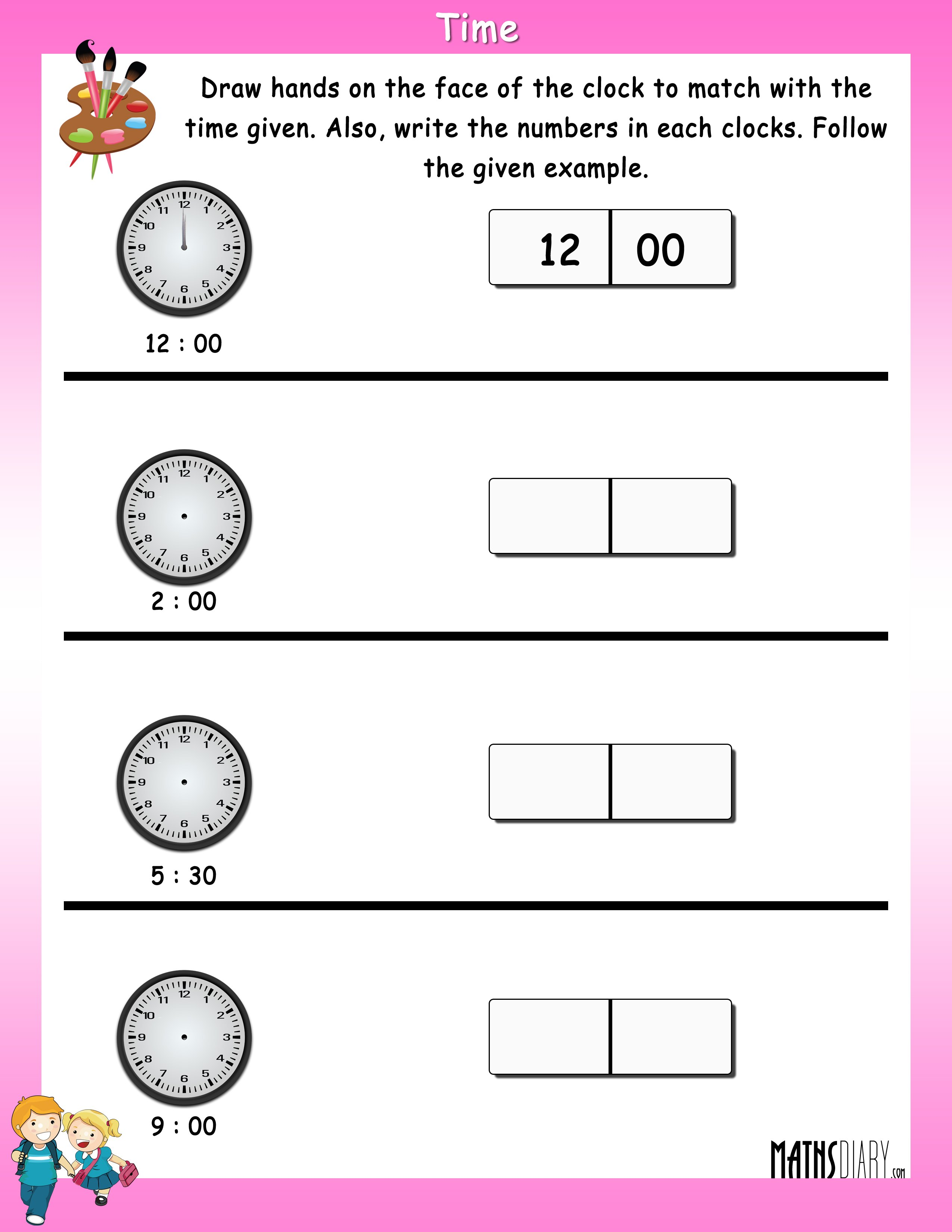 math worksheet : time  grade 1 math worksheets  page 2 : Grade 1 Math Worksheet