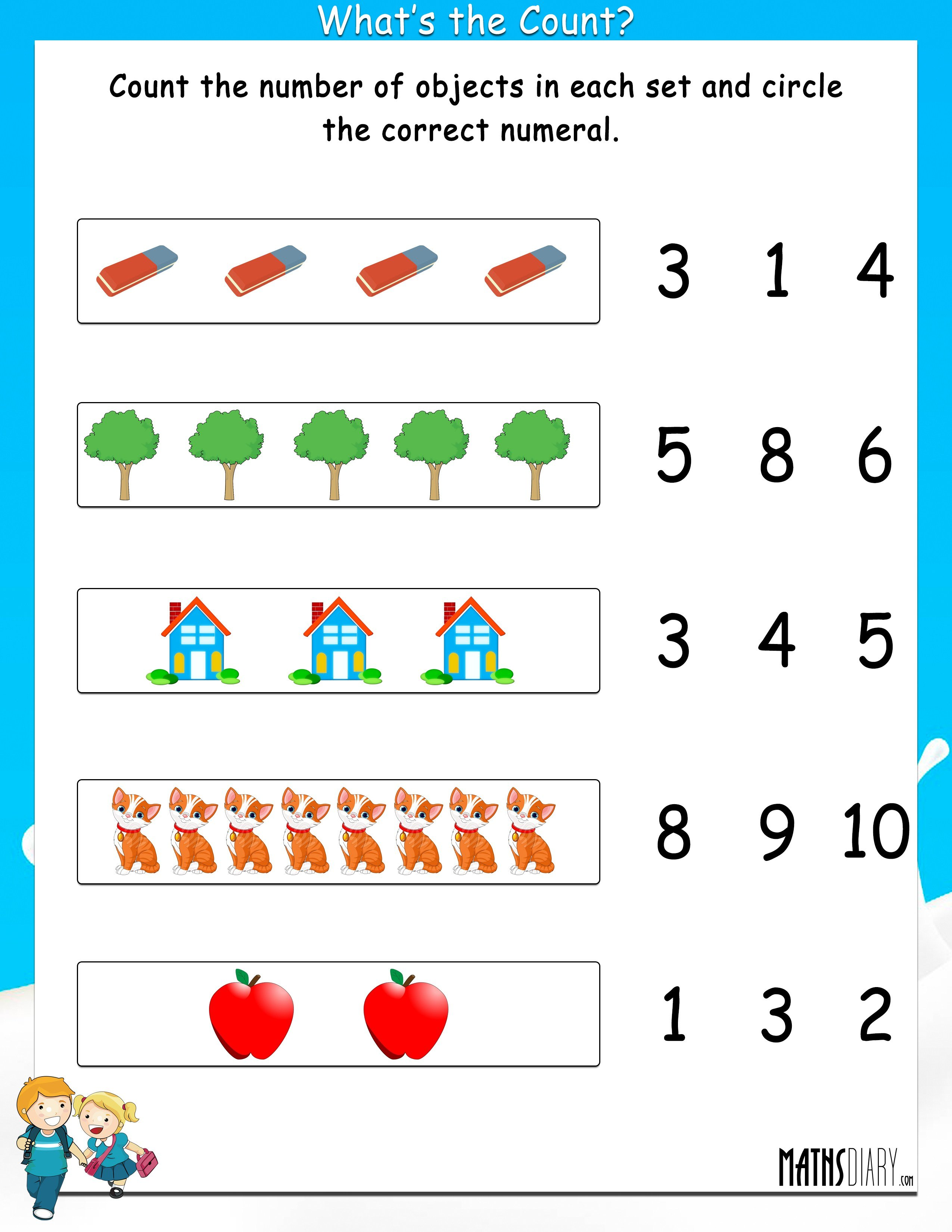 Count the objects and circle the correct numeral - Math Worksheets