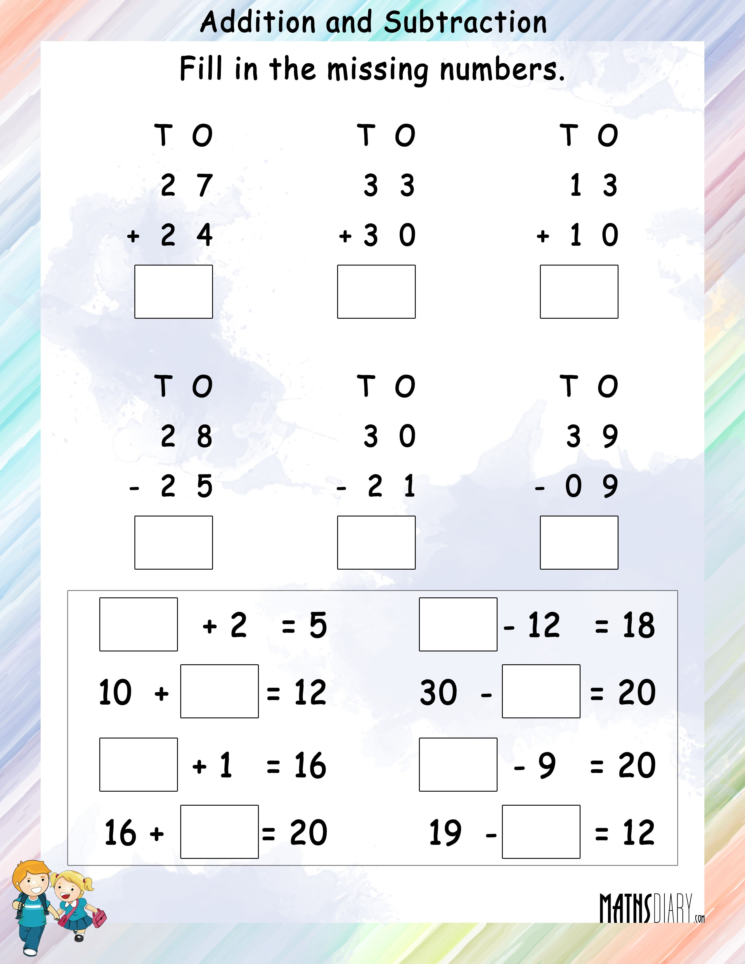 Addition Subtraction Mathsdiary Com
