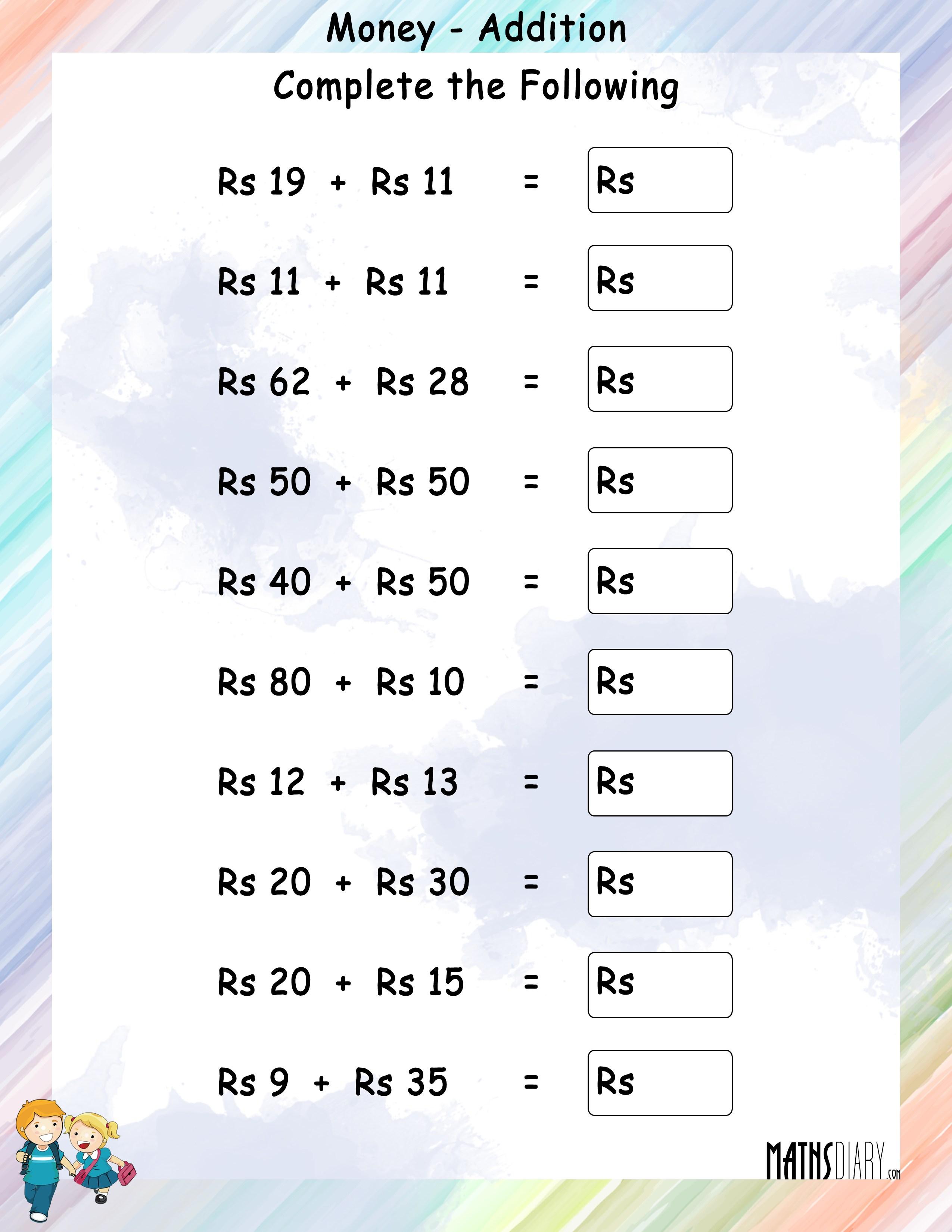 worksheet Money Worksheets Year 4 addition grade 1 math worksheets page 2 of money worksheet 4