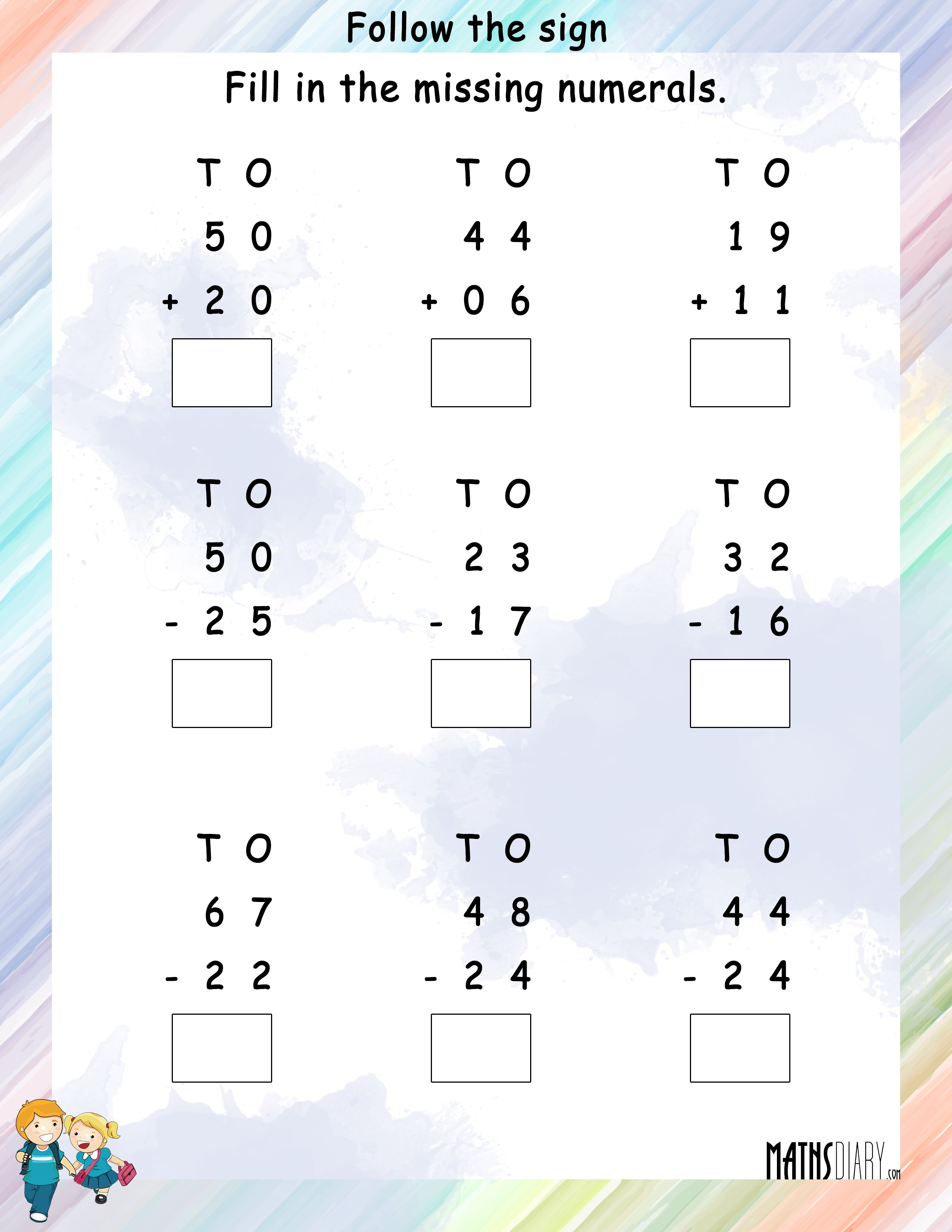 Follow the Addition and Subtraction Sign and solve MathsDiary – Subtracting 9 and 11 Worksheets