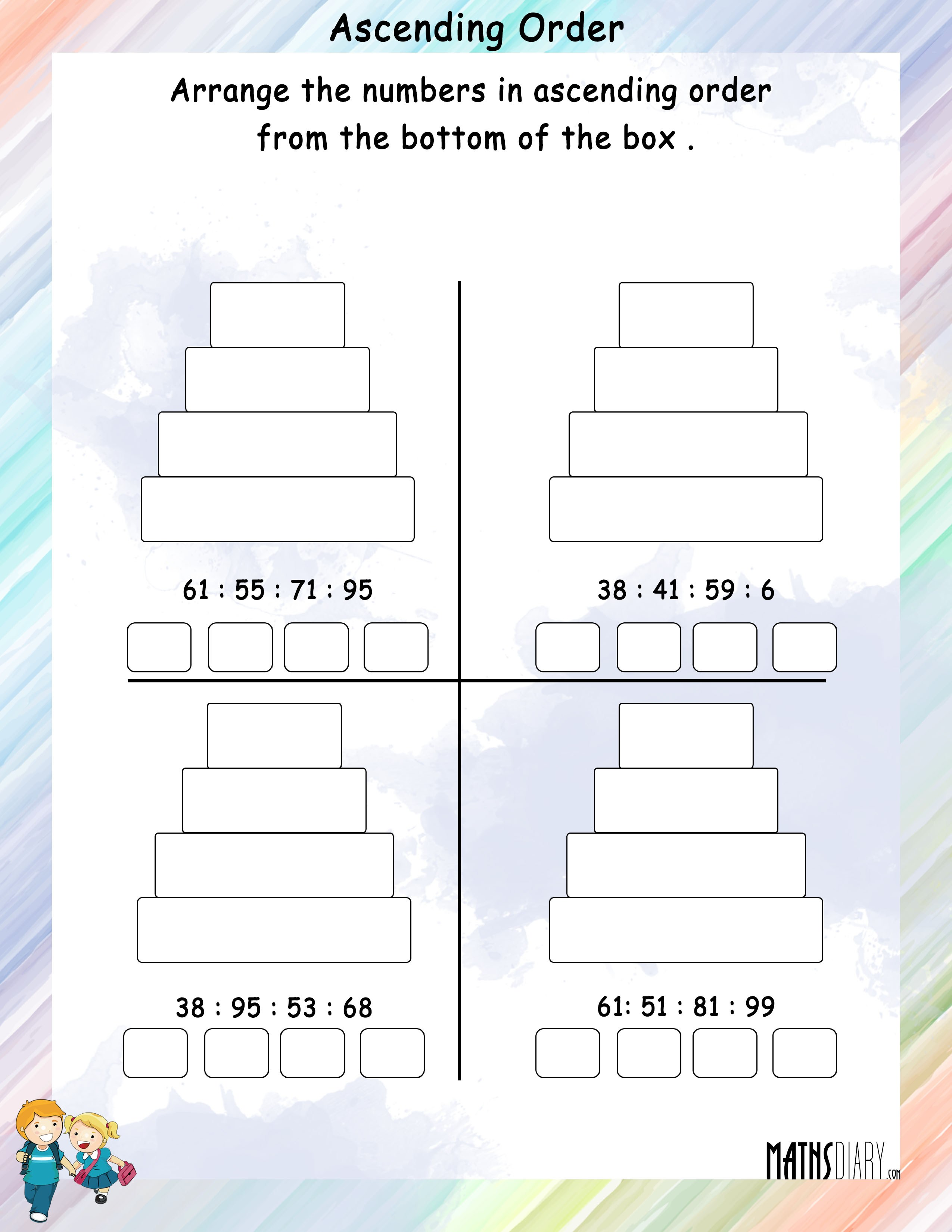 Arrange numbers in Ascending Order in boxes   Math ...