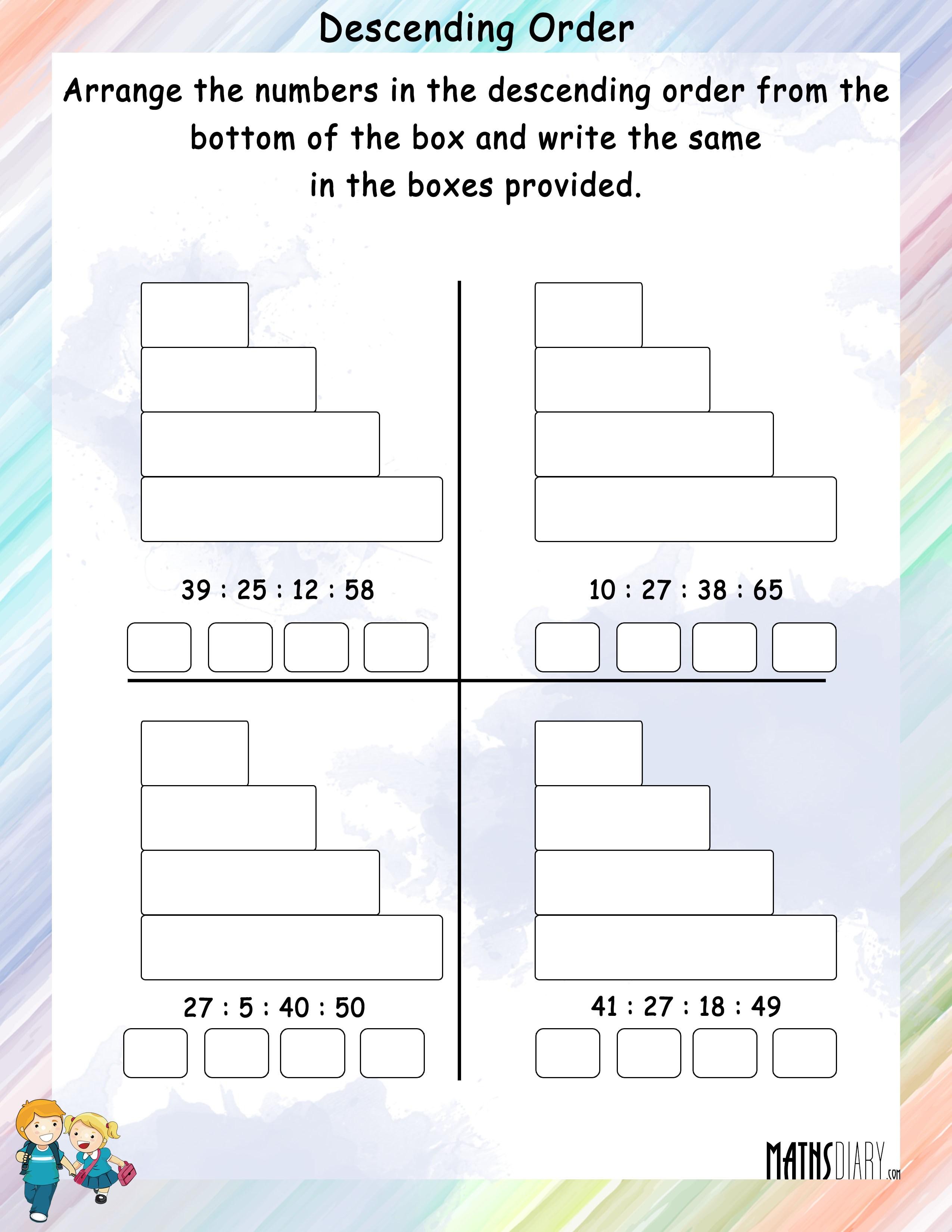 Descending order   Math Worksheets   MathsDiary.com