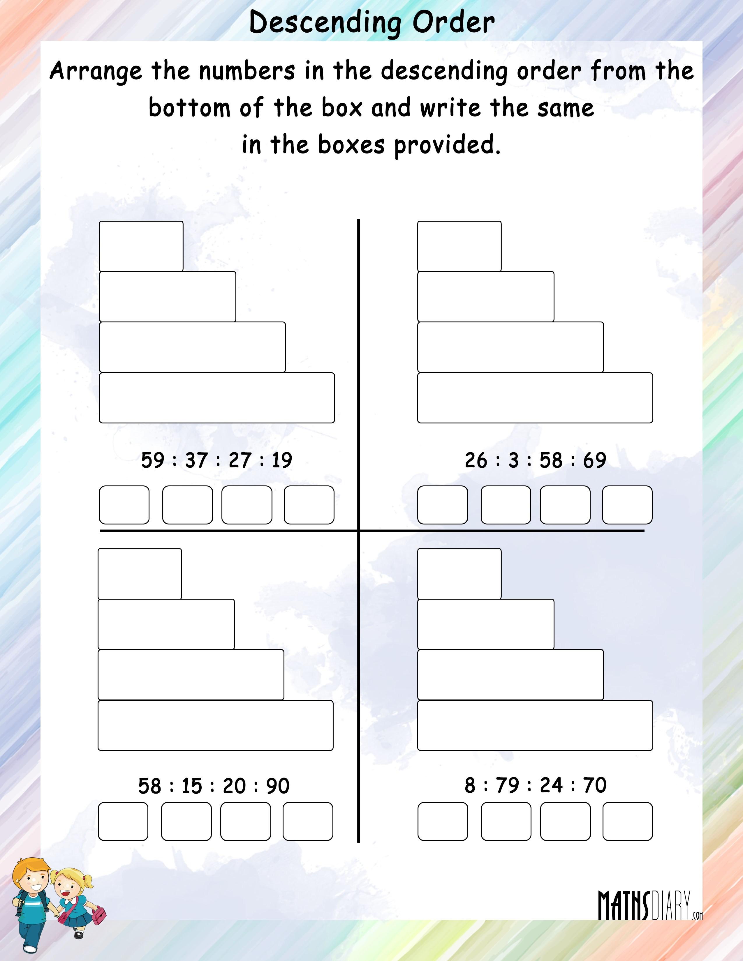 Increasing Decreasing Order u2013 Grade 1 Math Worksheets