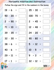 Horizontal-addition-subtraction-worksheet- 9