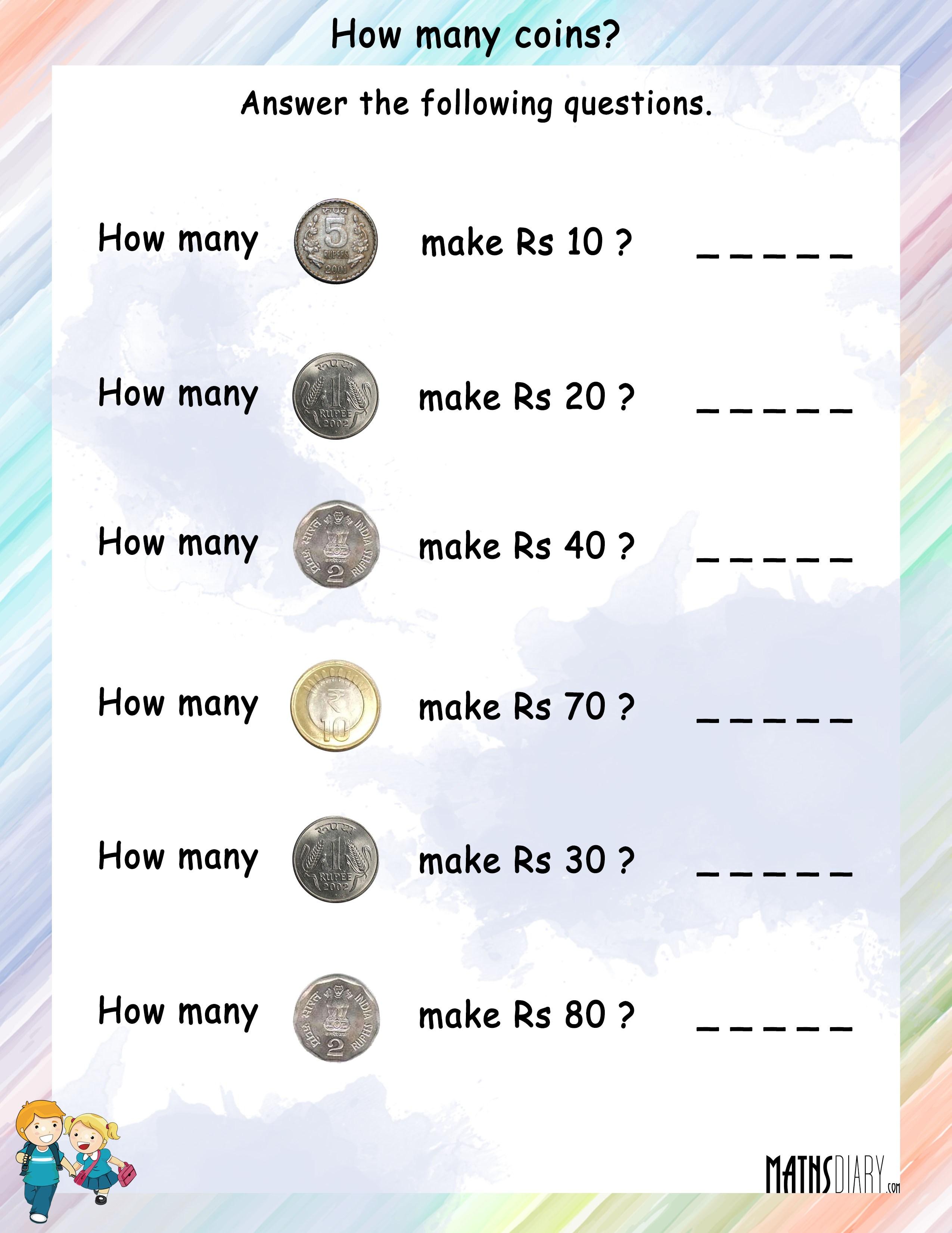 Free Worksheets coins worksheet : Currency u2013 Grade 2 Math Worksheets