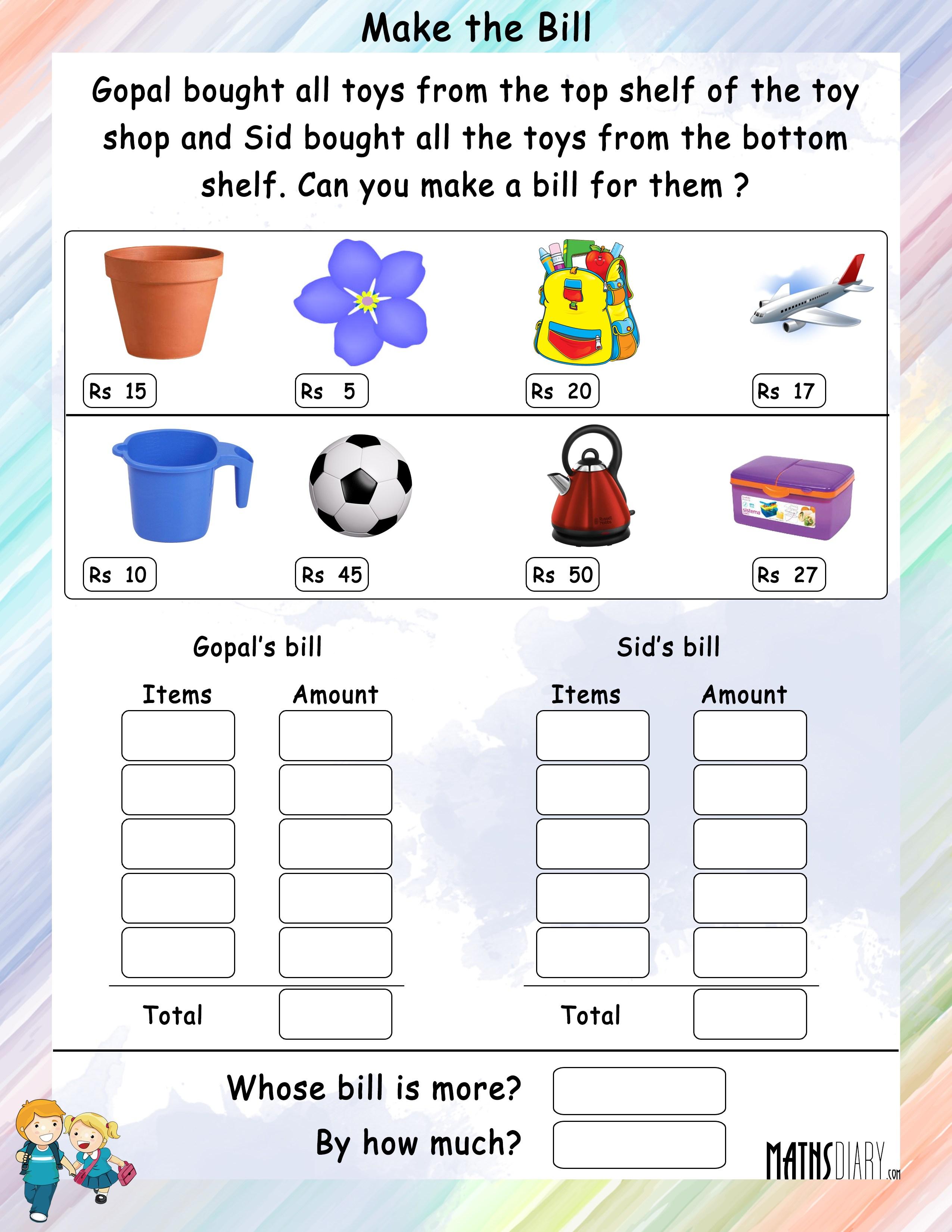 Grade 1 Math Worksheets - Page 12