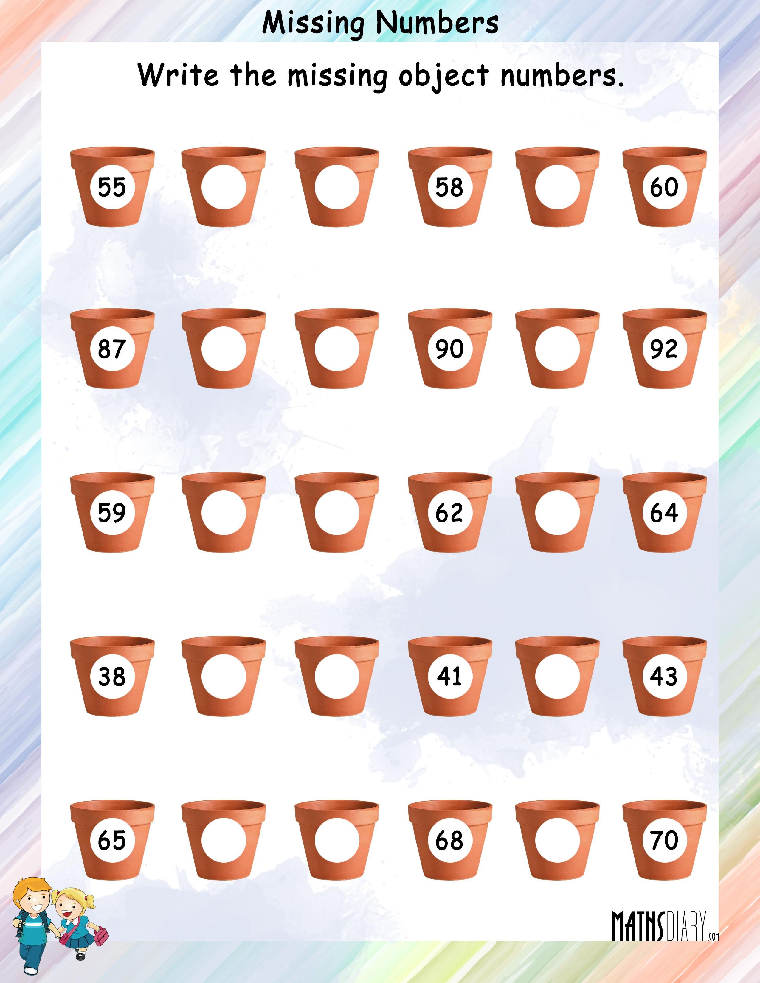 worksheet Find The Missing Number Worksheet find the missing numbers mathsdiary com in pot worksheet 5