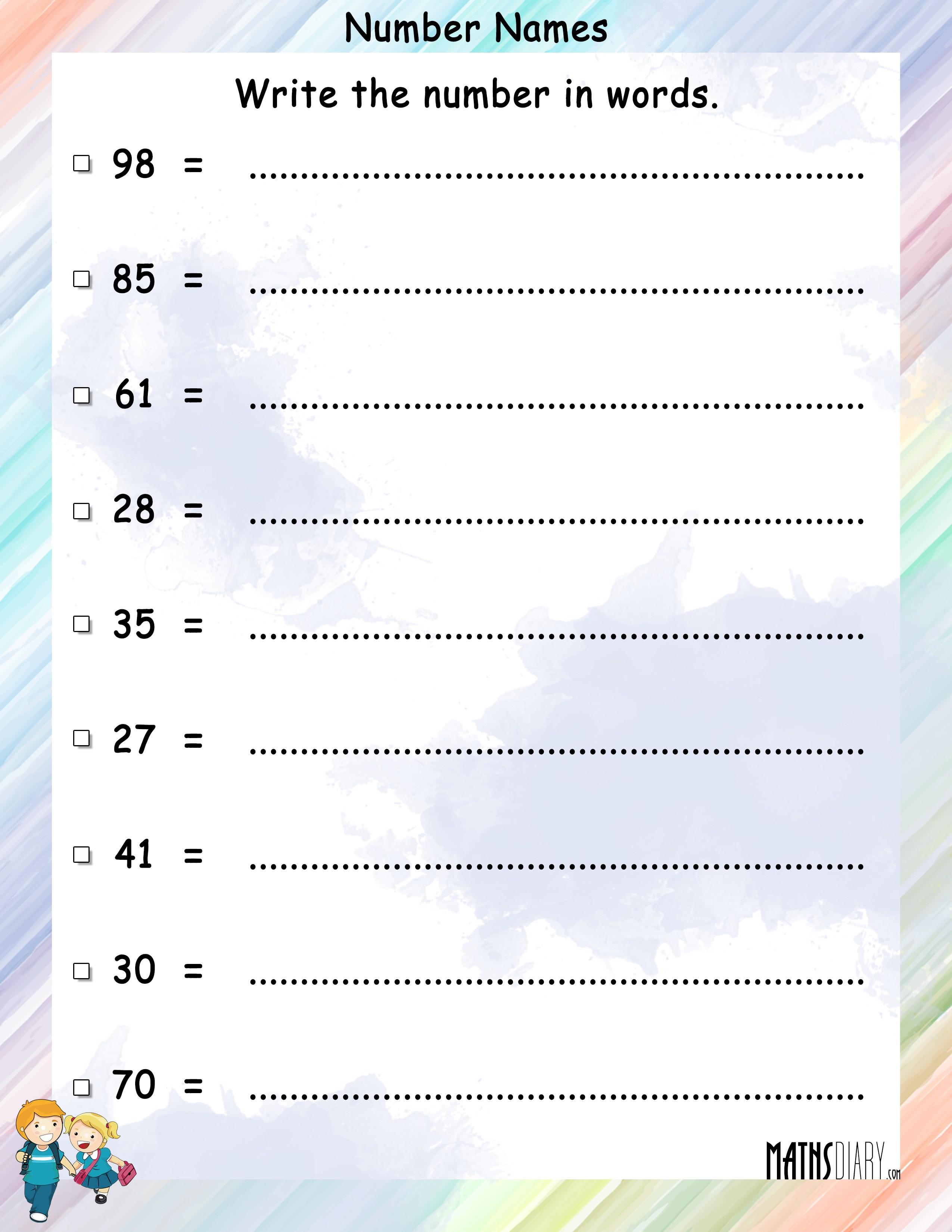 naming numbers grade 1 math worksheets page 2. Black Bedroom Furniture Sets. Home Design Ideas