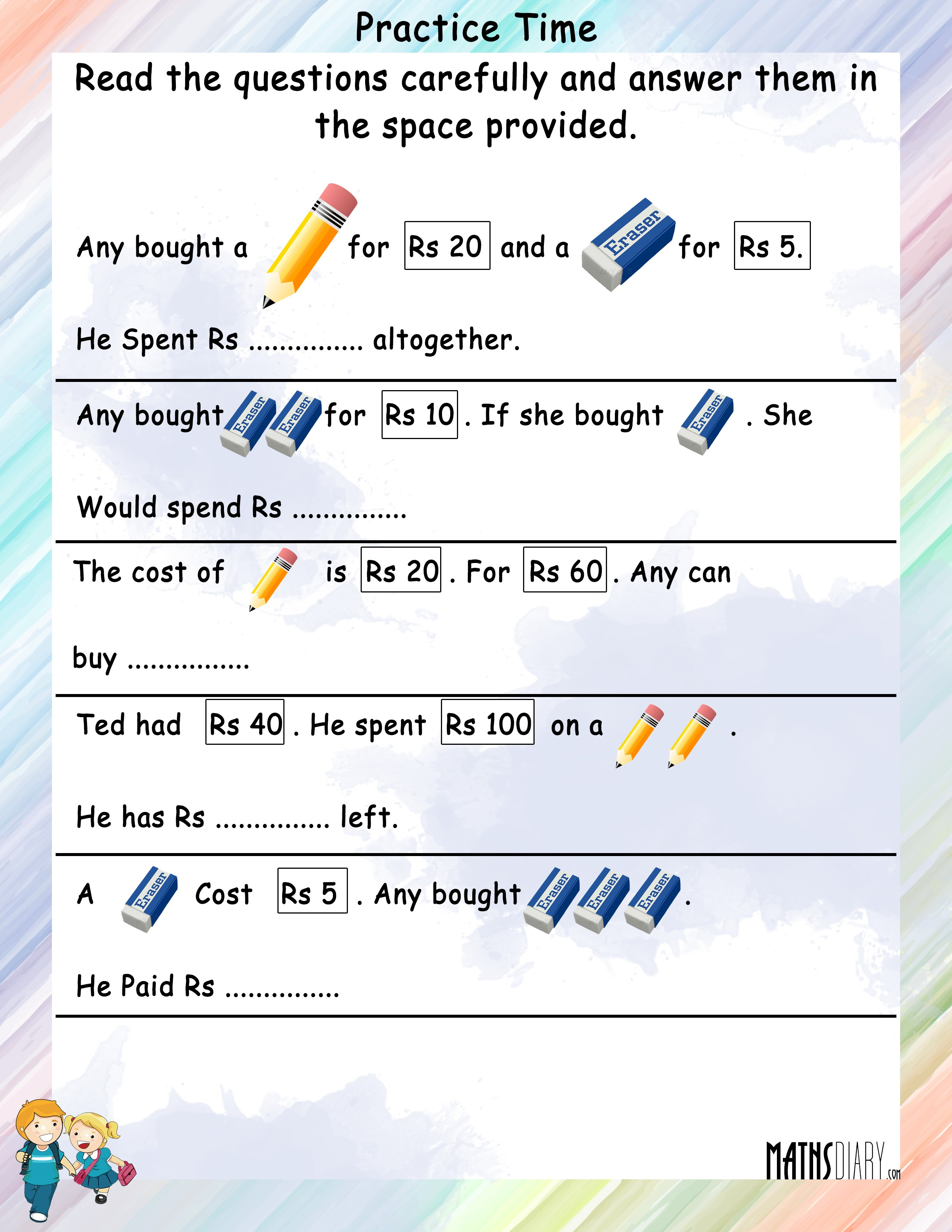 Statement sums of Money - Math Worksheets - MathsDiary.com