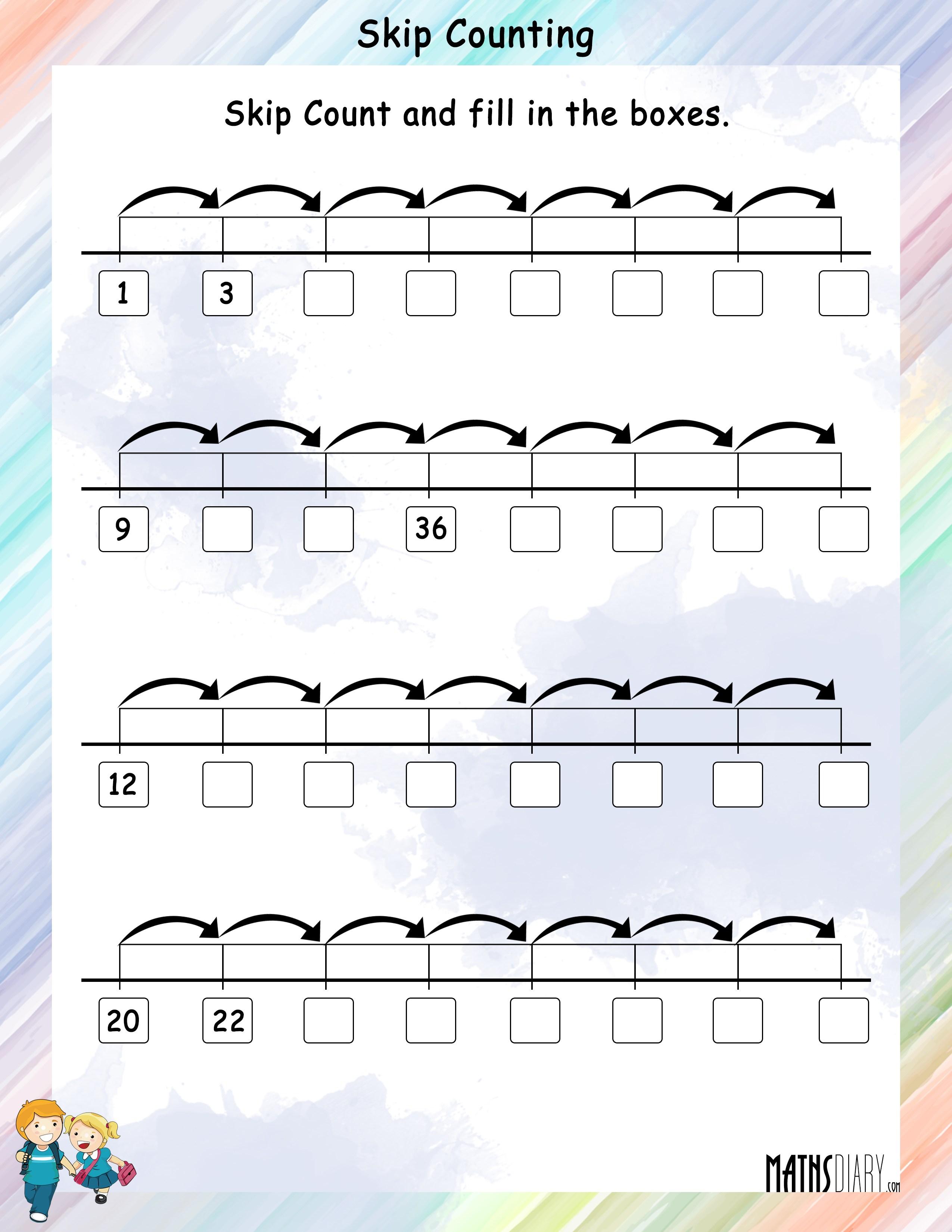 skip counting worksheets mathsdiary com