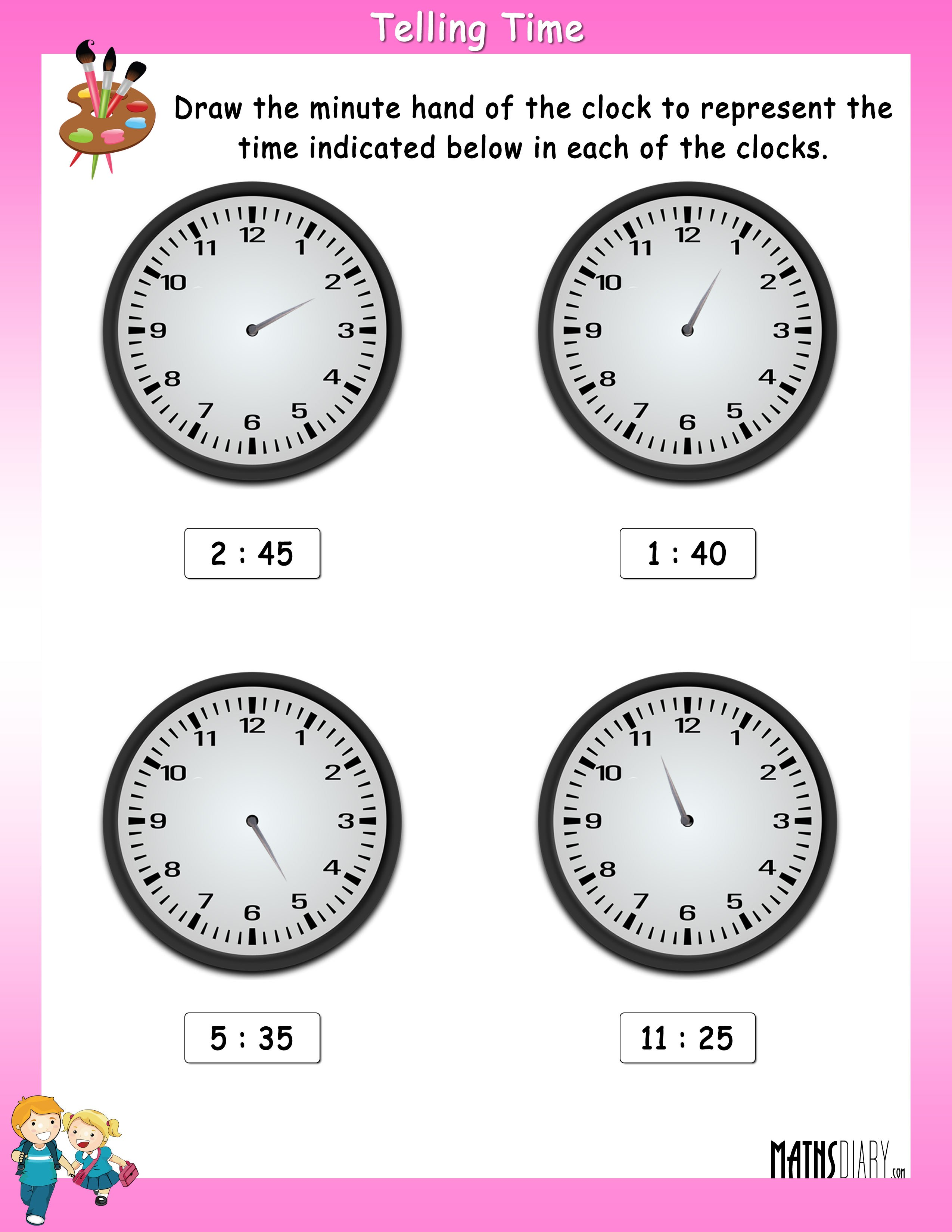 Draw The Minute Hand In The Clock To Show The Indicated Time