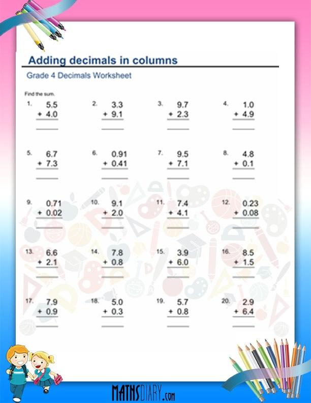 addition of decimals worksheet grade 4 math worksheets. Black Bedroom Furniture Sets. Home Design Ideas